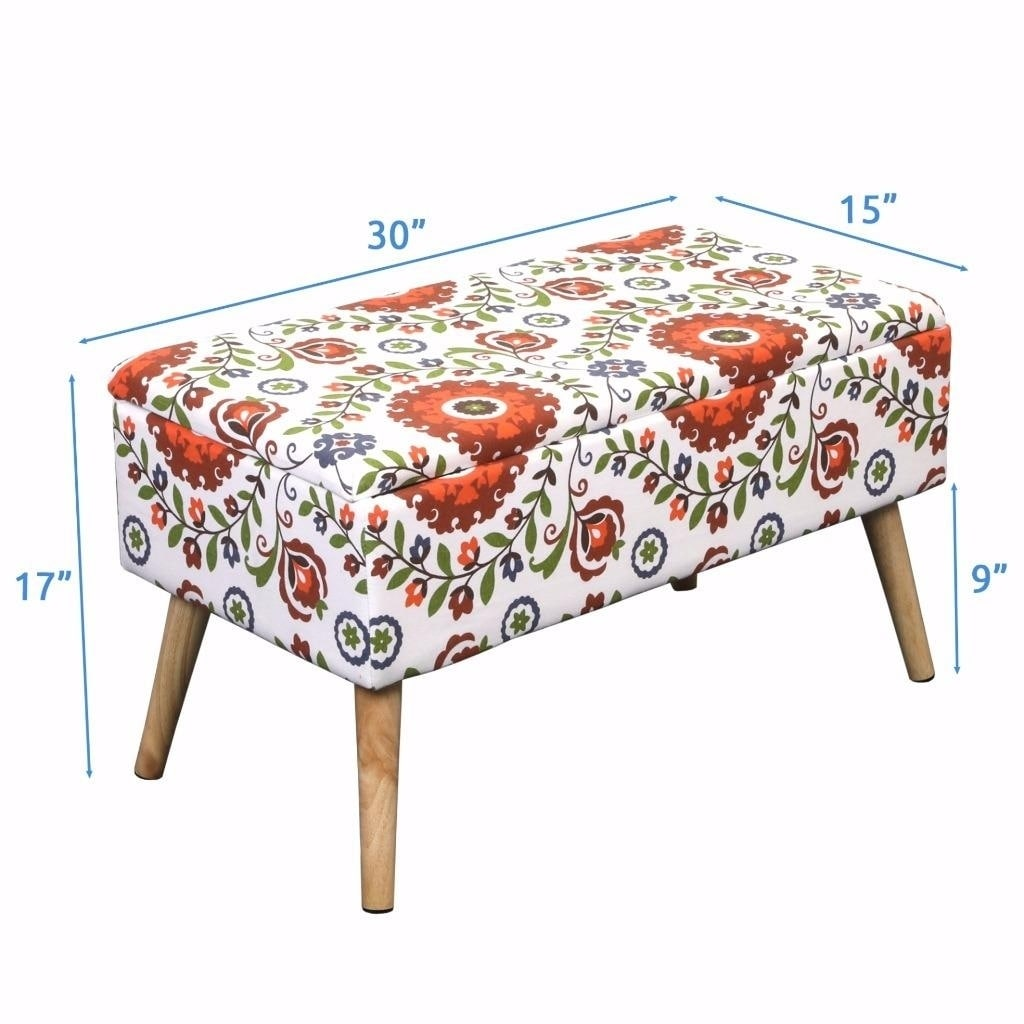 Storage Ottoman Bench 30 Inch Easy Lift Top Upholstered   Retro Floral    Free Shipping Today   Overstock   24181055