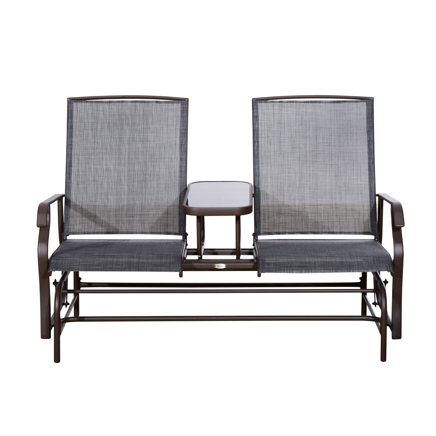 Outsunny Two Person Outdoor Mesh Fabric Patio Double Glider Chair With Center Table On Free Shipping Today 18013207