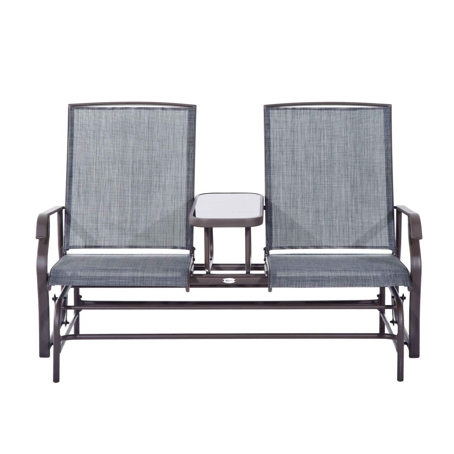 Outsunny Two Person Outdoor Mesh Fabric Patio Double Glider Chair With Center Table Free Shipping Today 18013207