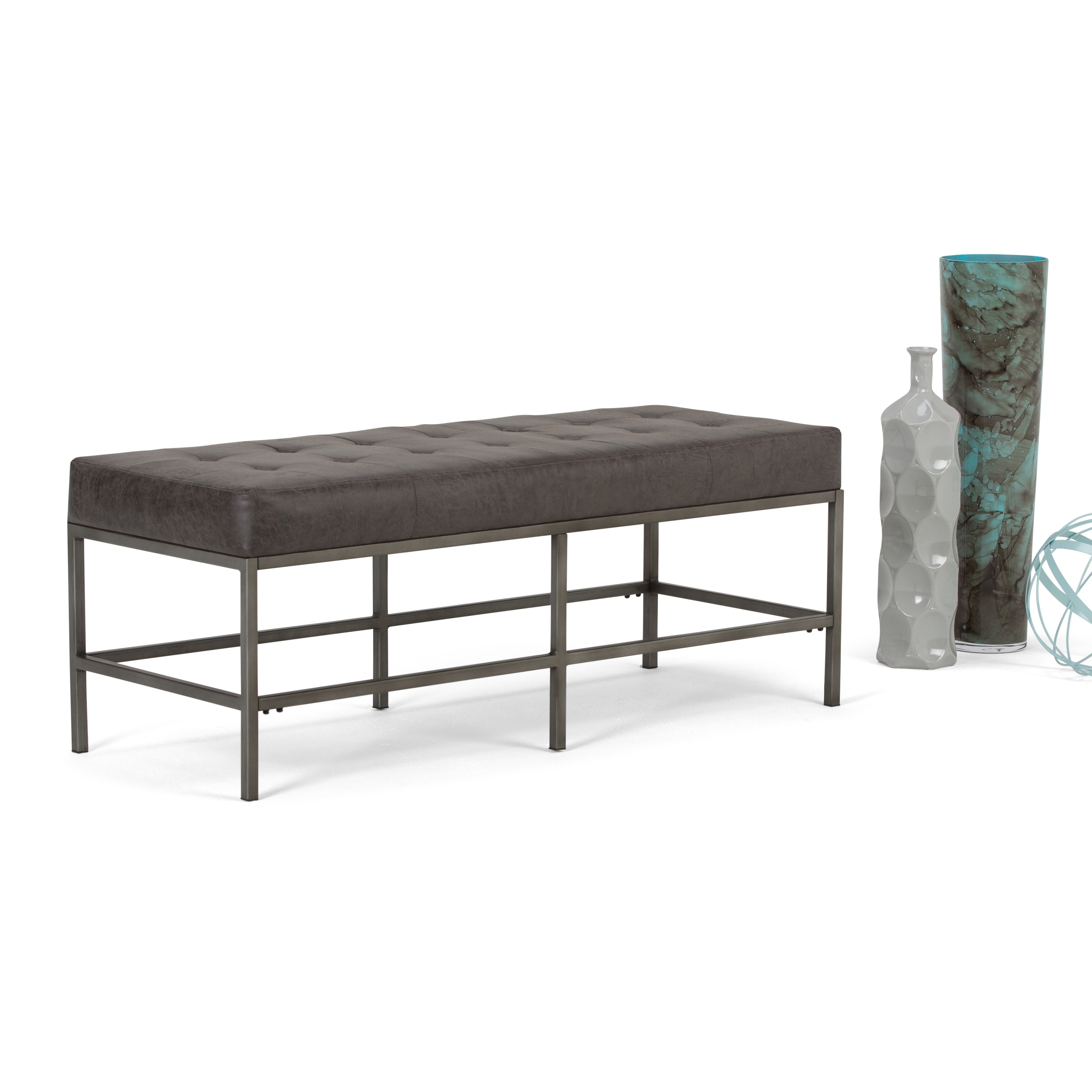 Shop Wyndenhall Seaton Modern Industrial Upholstered Ottoman Bench