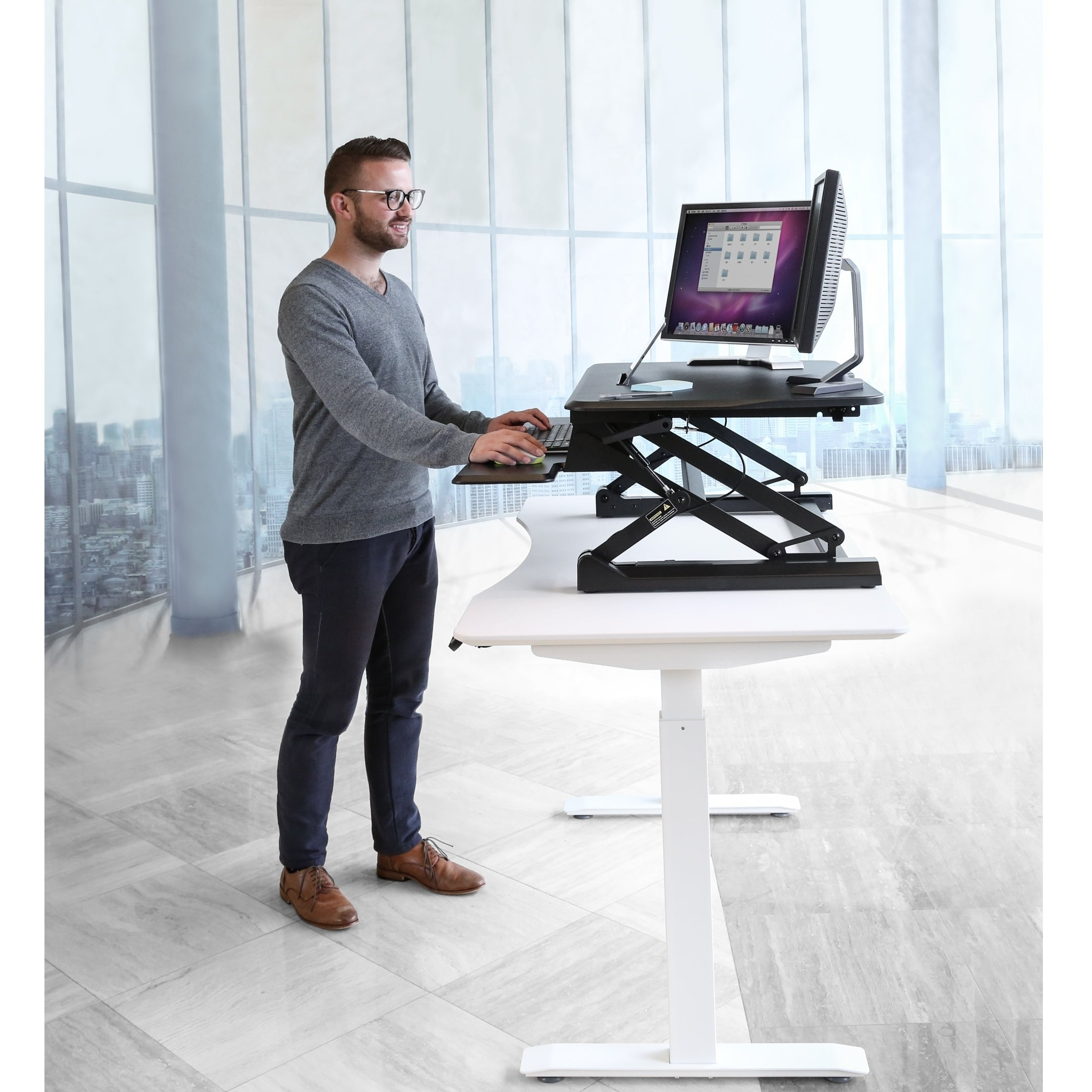 AIRLIFT 35 4 in Height Adjustable Standing Desk Converter Workstation and  Keyboard Tray