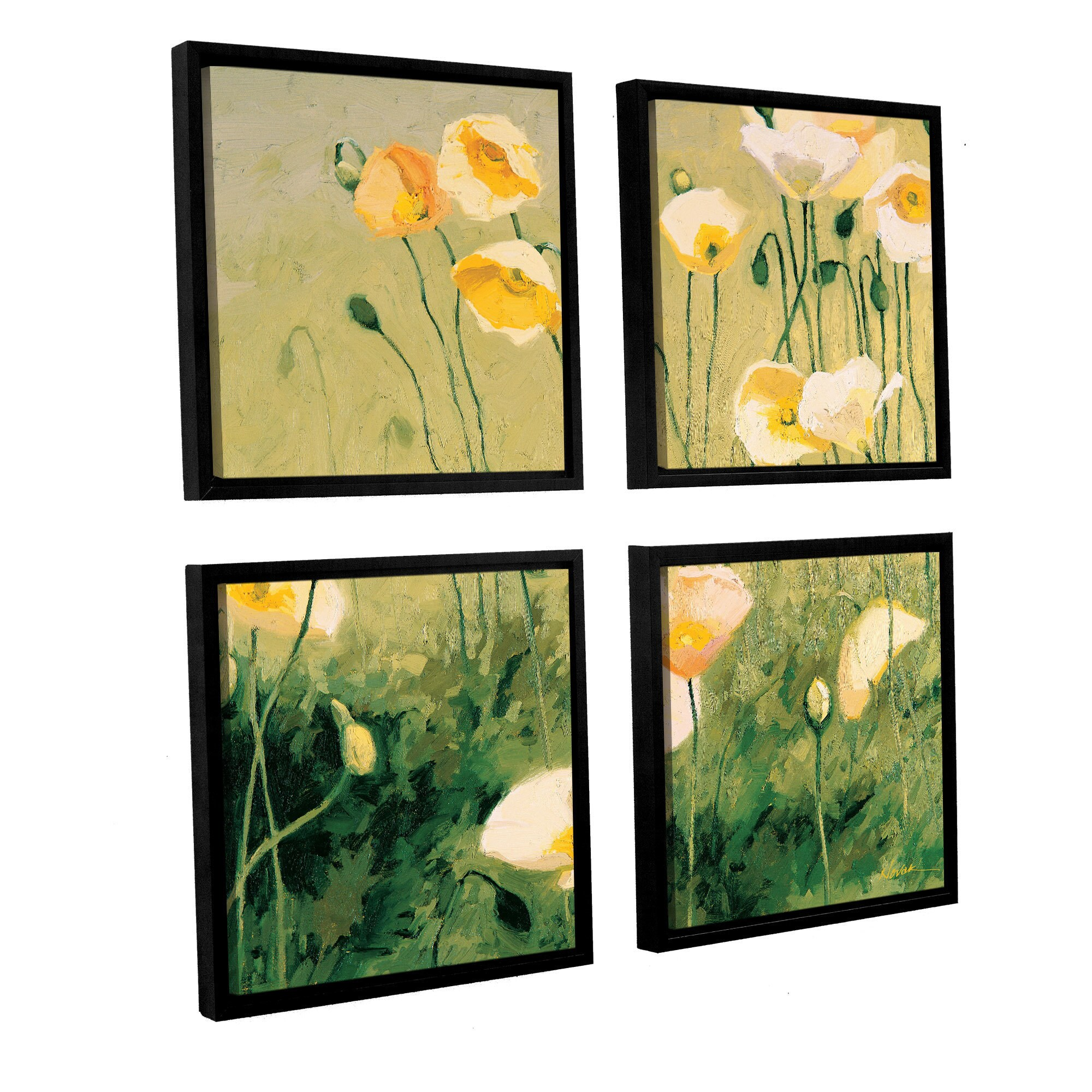 Shirly Novak \'In the Midday Sun\' 4-piece Floating-framed Canvas Wall ...