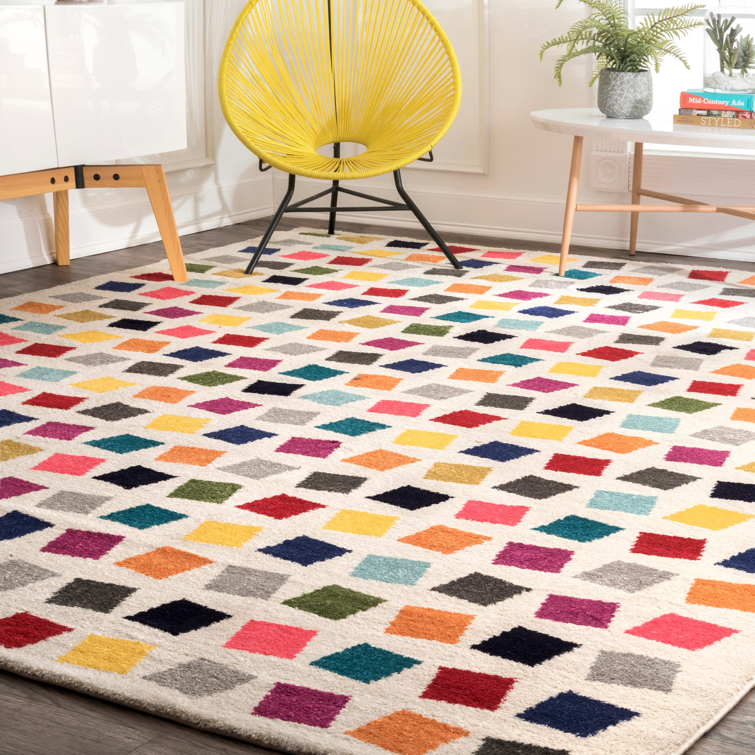 nuLoom Contemporary Southwestern Bohemian Abstract Square Dots ...