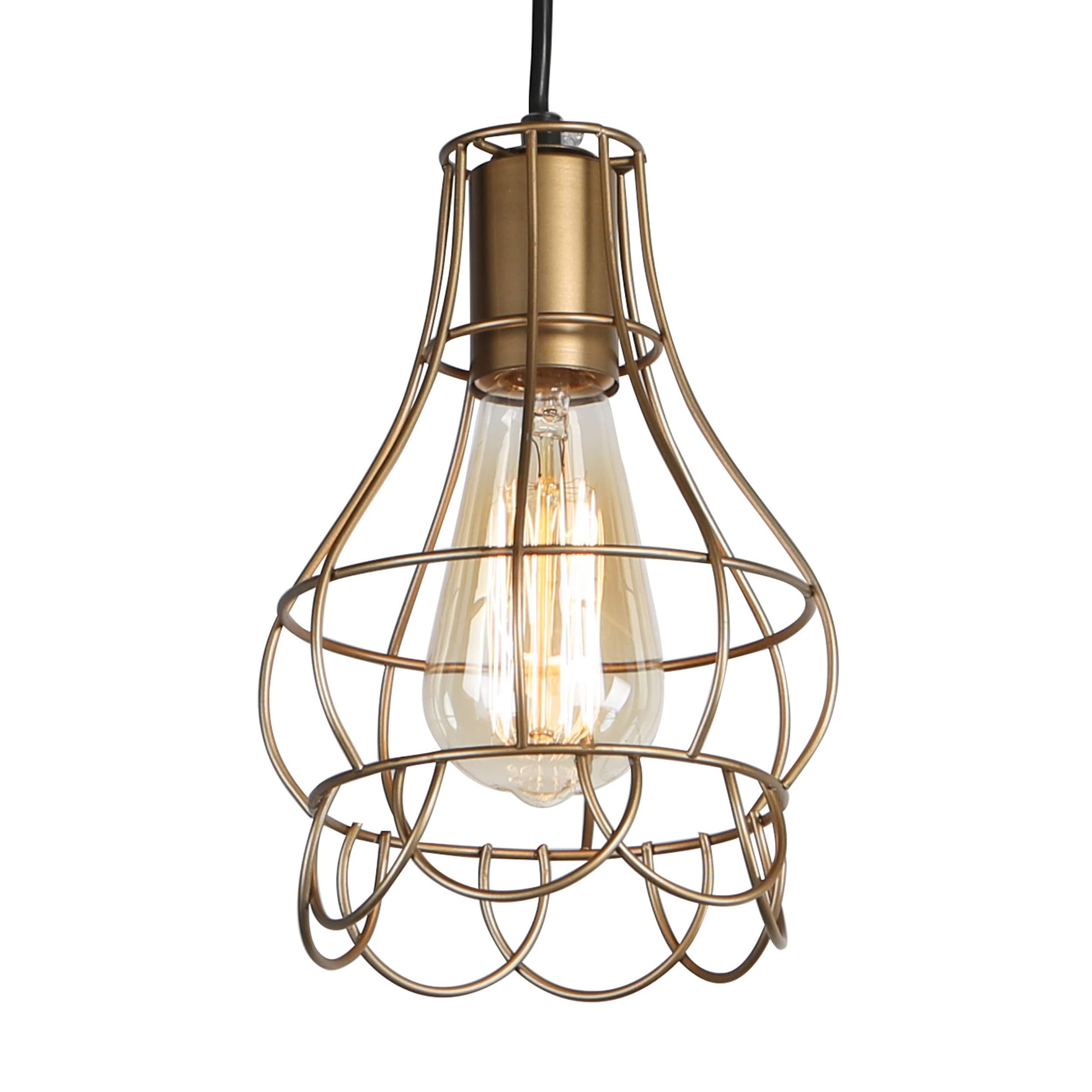 Shop Journee Home \'Mattie\' 6 in Hard Wired Iron Wire Pendant Light ...