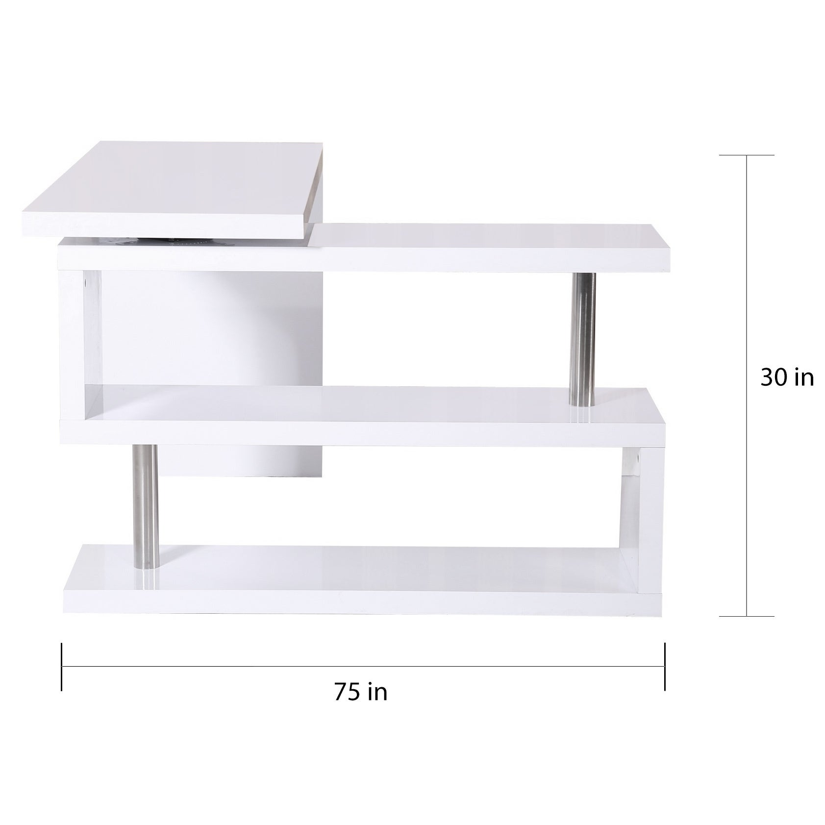 Homcom Rotating Office Desk And Shelf Combo White On Free Shipping Today 18019795