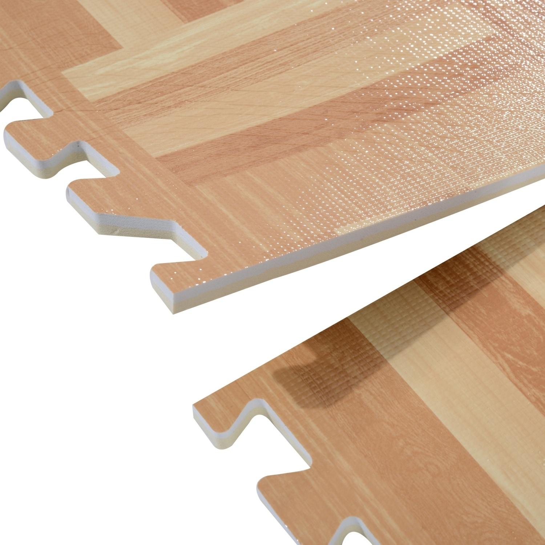 Soozier Interlocking Puzzle Foam Floor Tile Mats Light Wood Free