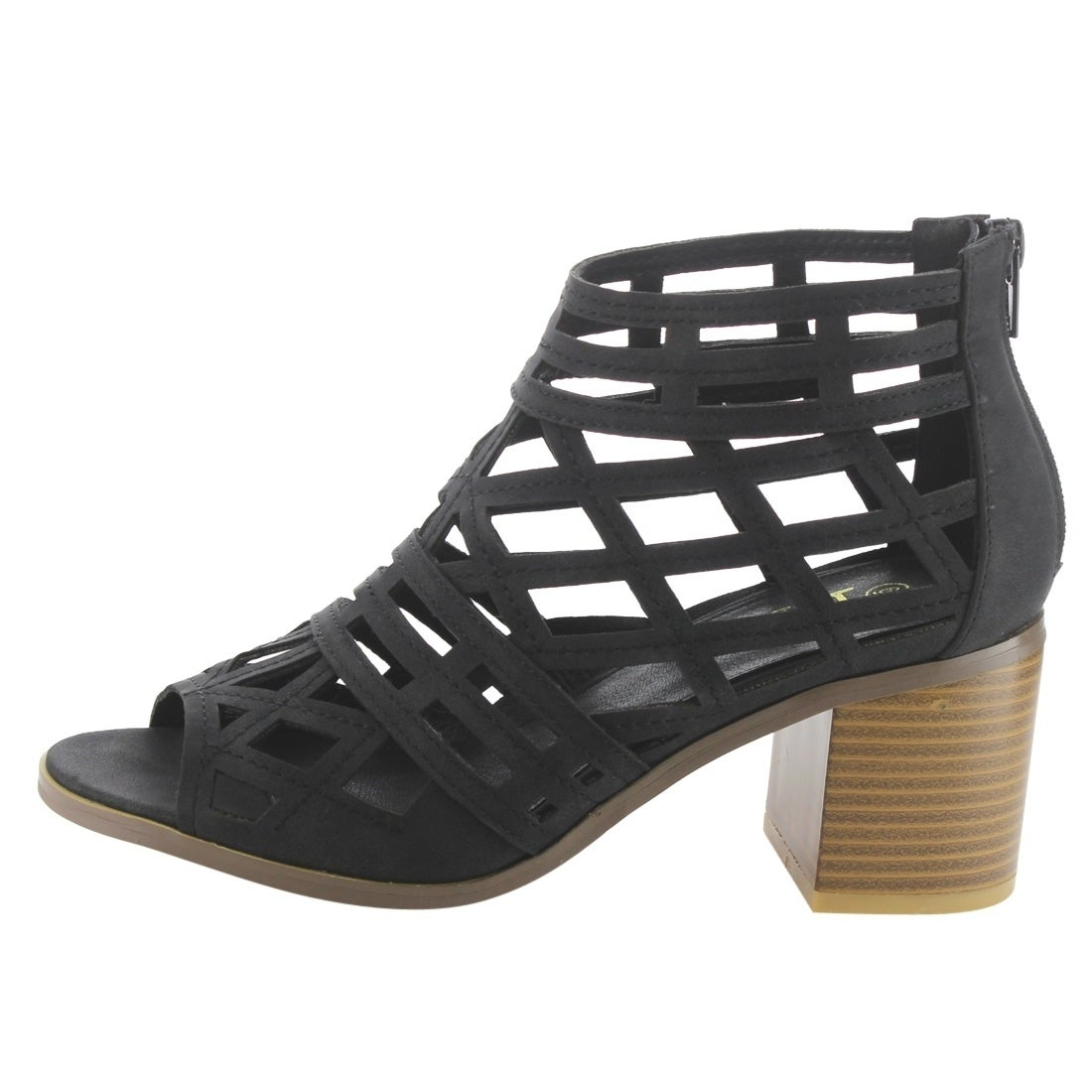 6f3e6bd6e0 Shop BETANI EI25 Women s Peep Toe Cut Out Back Zipper Block Heel Cage Ankle  Booties - Free Shipping On Orders Over  45 - Overstock - 18021518