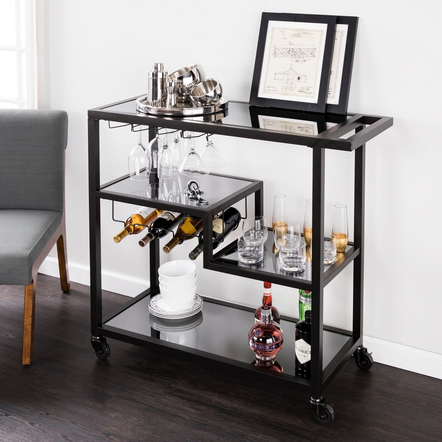 Merveilleux Holly U0026 Martin Zephs Bar Cart   Black W/ Smoked Mirror
