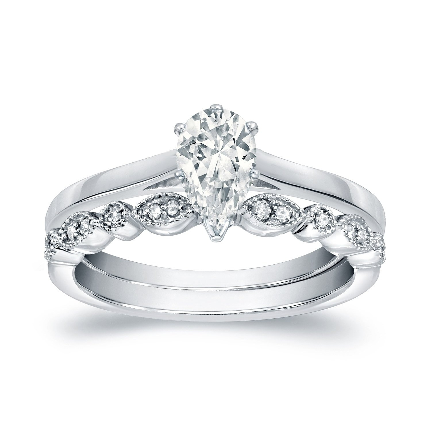 14k Gold Vintage Stackable 1 2ct Tdw Pear Shaped Solitaire Diamond Engagement Ring Set By Auriya On Free Shipping Today