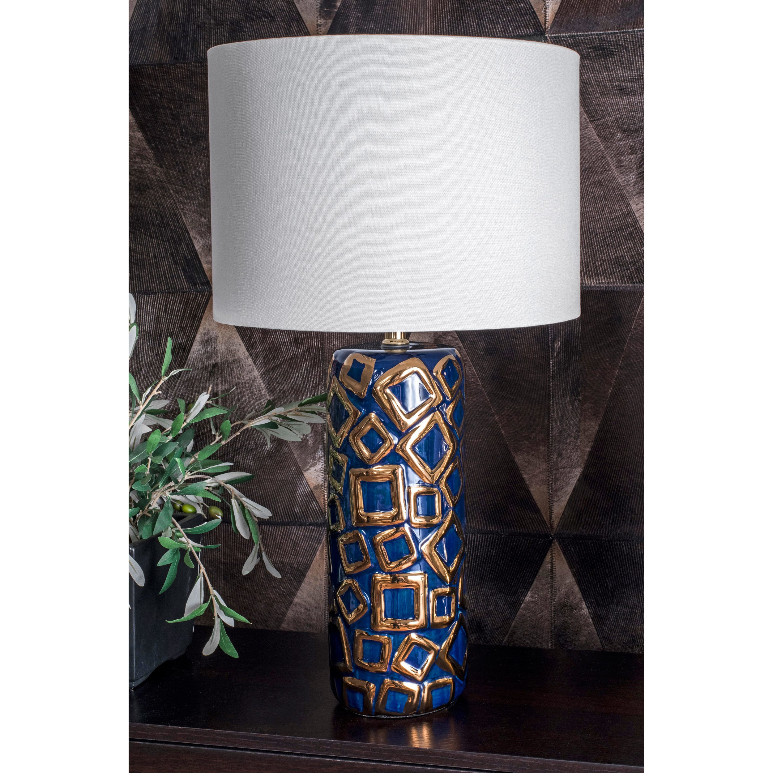 Shop Watch Hill 25 Caroline Ceramic Linen Shade Blue And Gold