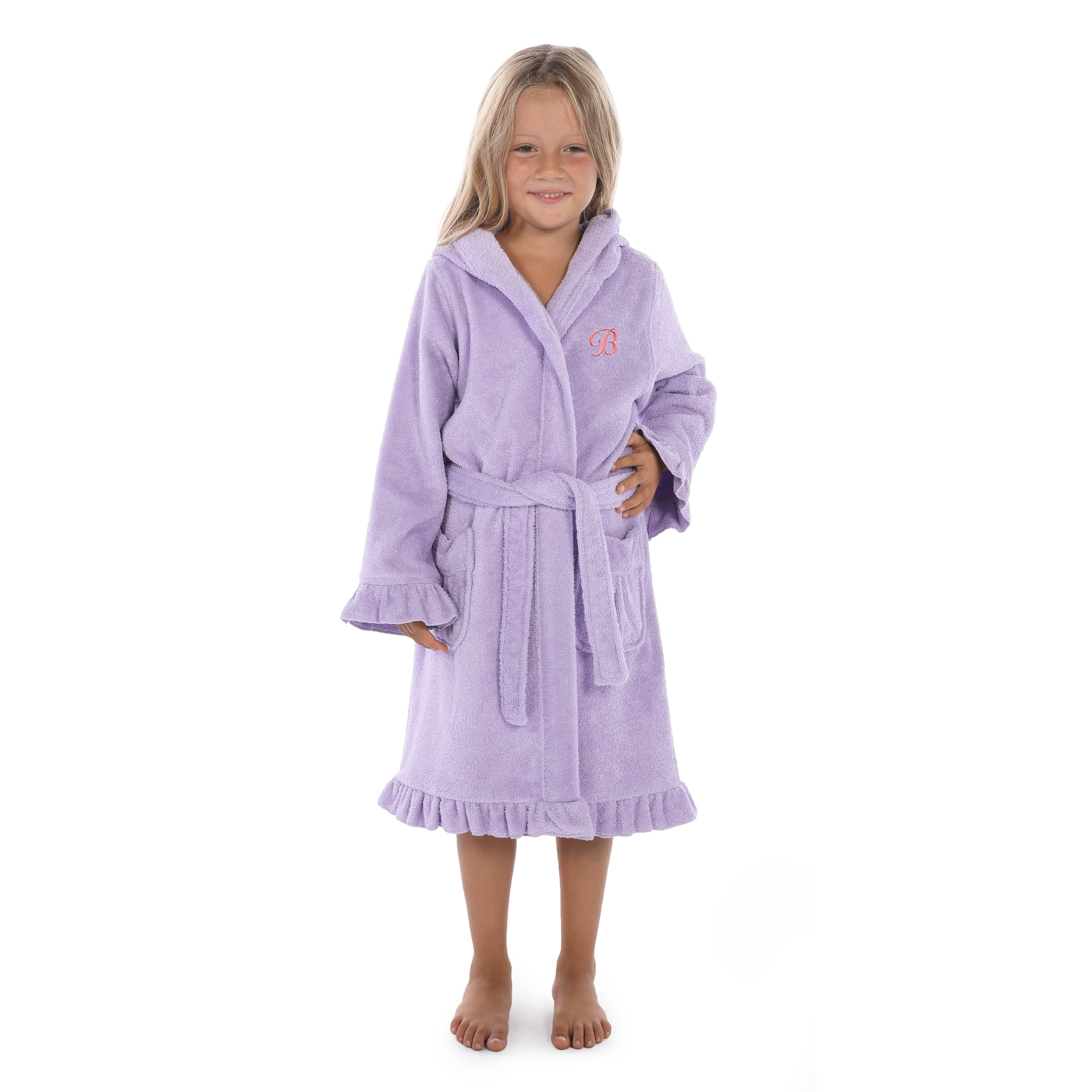 7fcbcdc626f1a Sweet Kids Ruffled Purple Turkish Cotton Hooded Terry Bathrobe Pink Script  Initial