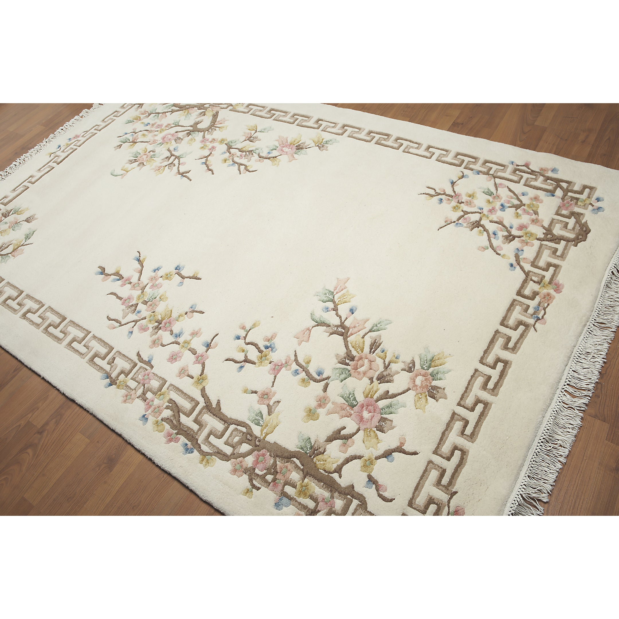 Asian Inspired Thick Pile Aubusson Pure Wool Area Rug 6 X9 Ships To Canada 24204509