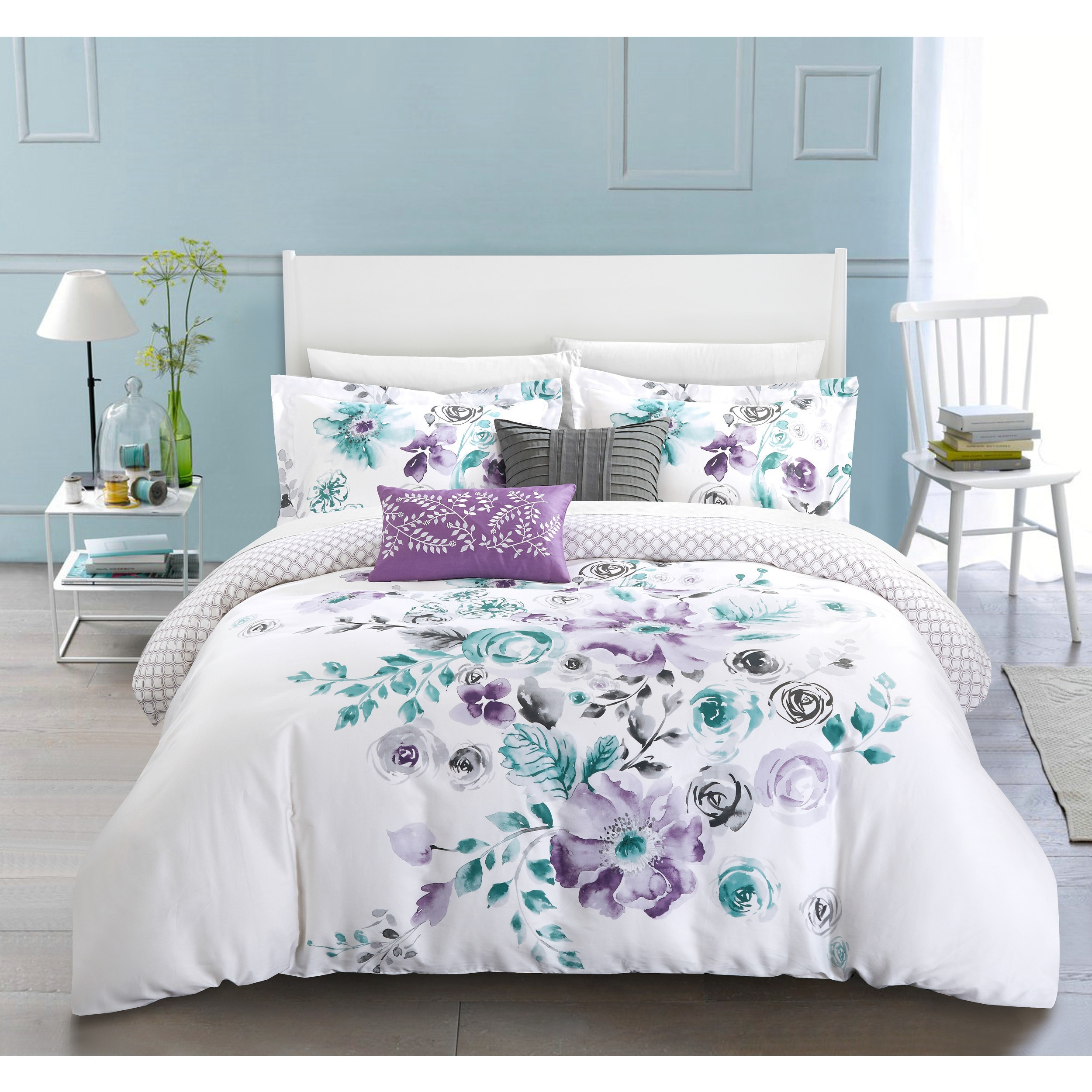 Chic Home Aylett Lavender Floral Cotton Reversible 5 Piece Comforter ...