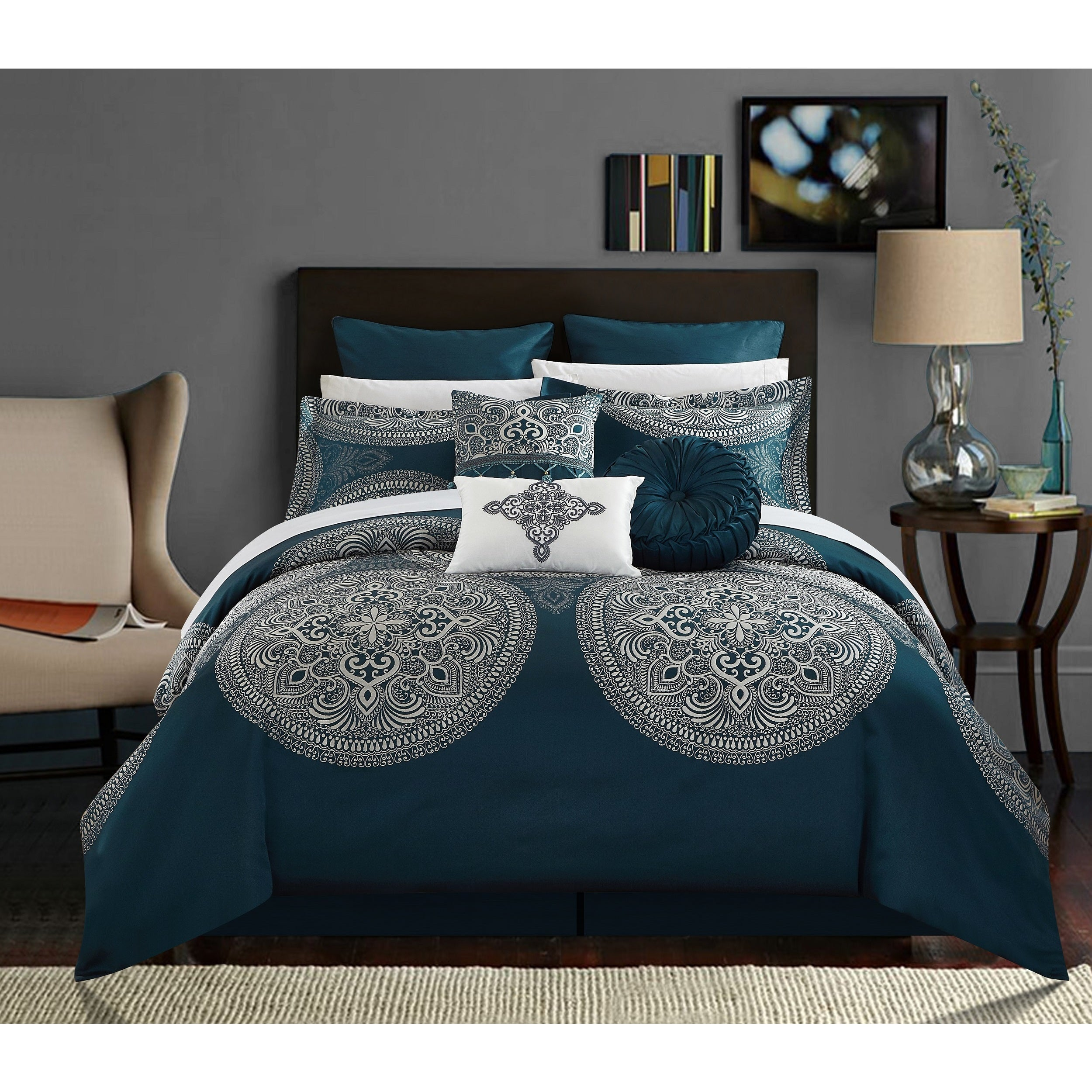 Chic Home 13 Piece Adana Teal Bed in a Bag forter Set Free