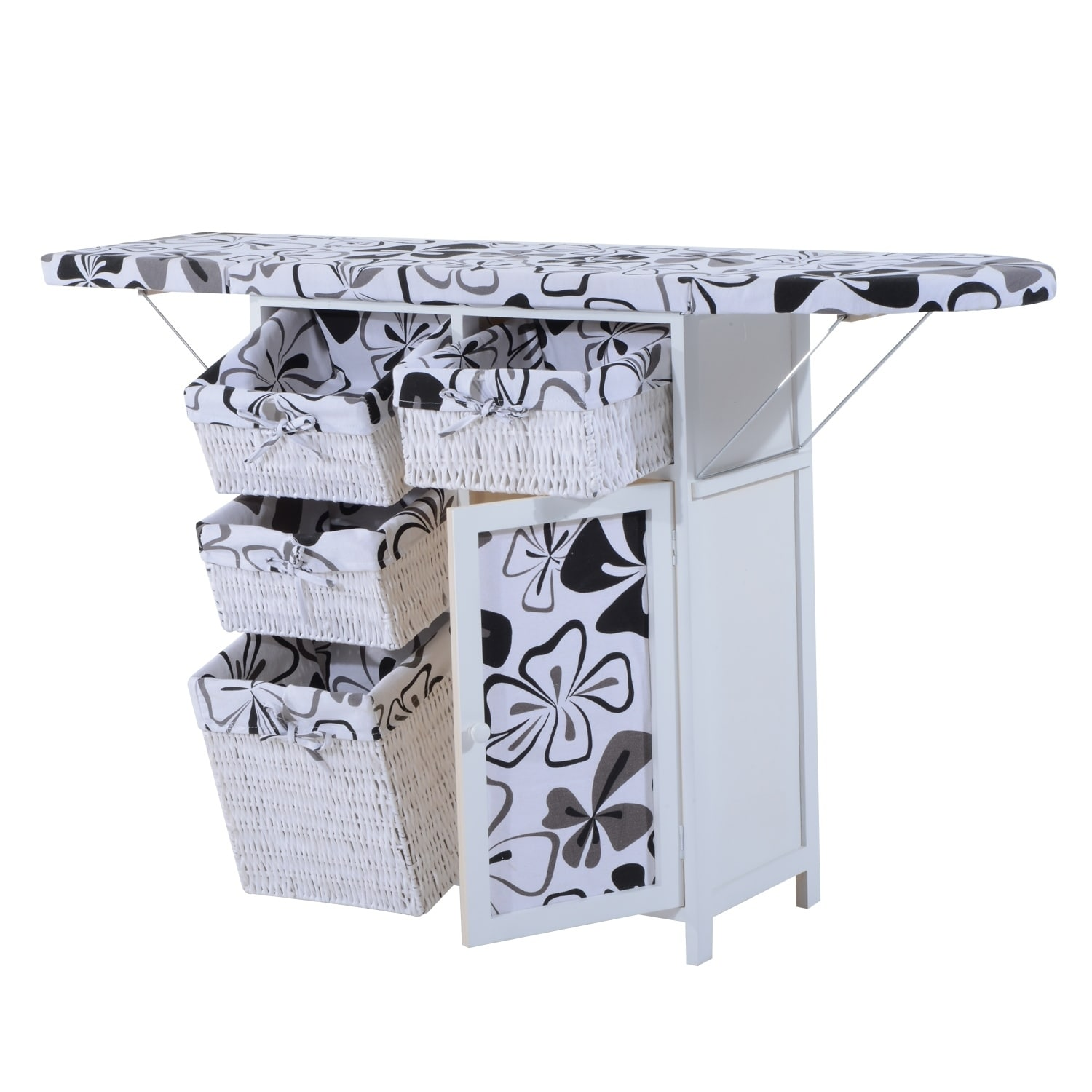 Homcom Wood Wicker Ironing Board Center With Baskets White Free Shipping Today 18038513