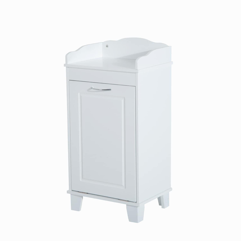 Shop HomCom Wooden Bathroom Laundry Hamper Cabinet - Free Shipping ...