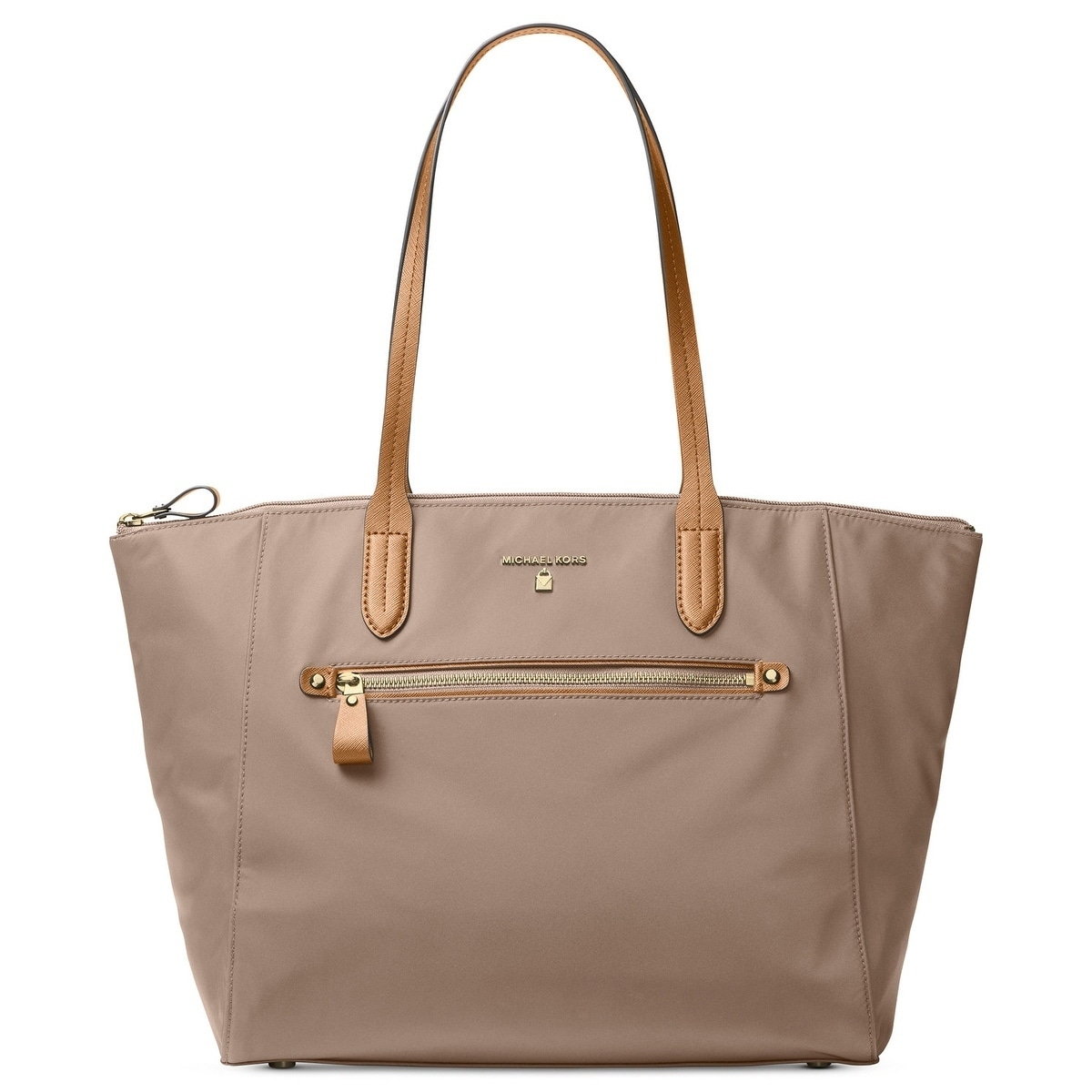 10b0f781e1ab Shop Michael Michael Kors Kelsey Large Top-Zip Tote - Tan Beige - Free  Shipping Today - Overstock - 18041296
