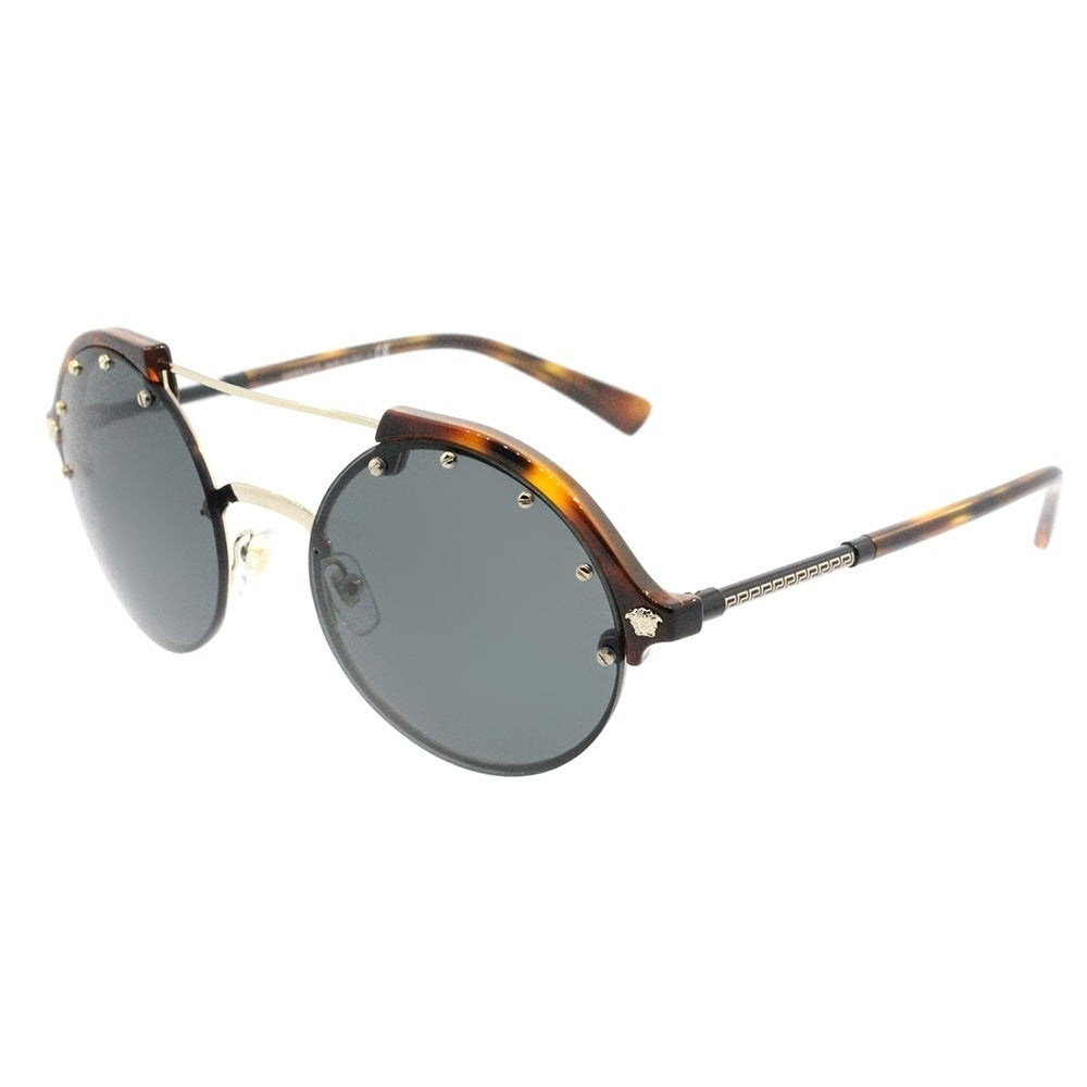 eea074fed5 Shop Versace Round VE 4337 260 87 Womens Yellow Havana Pale Gold Frame Grey  Lens Sunglasses - Ships To Canada - Overstock - 18041784