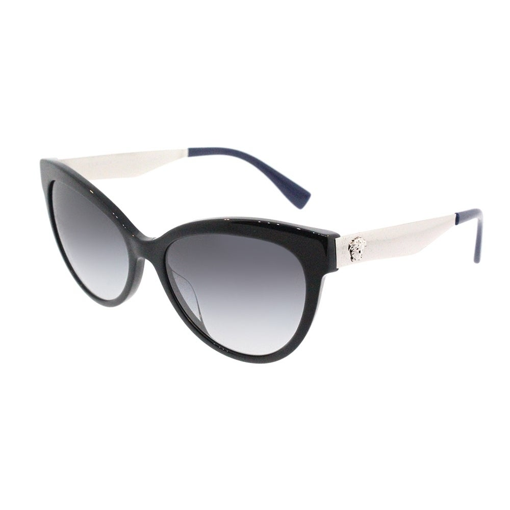 7fdadeb3d70 Shop Versace Cat Eye VE 4338A 52478G Womens Black Blue Frame Grey Gradient  Lens Sunglasses - Free Shipping Today - Overstock - 18041787
