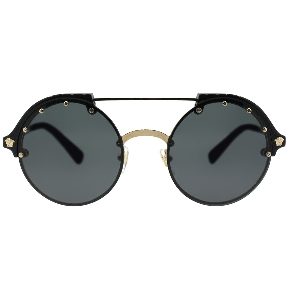 82af137f25 Shop Versace Round VE 4337 GB1 87 Womens Black Pale Gold Frame Grey Lens  Sunglasses - Free Shipping Today - Overstock - 18041789