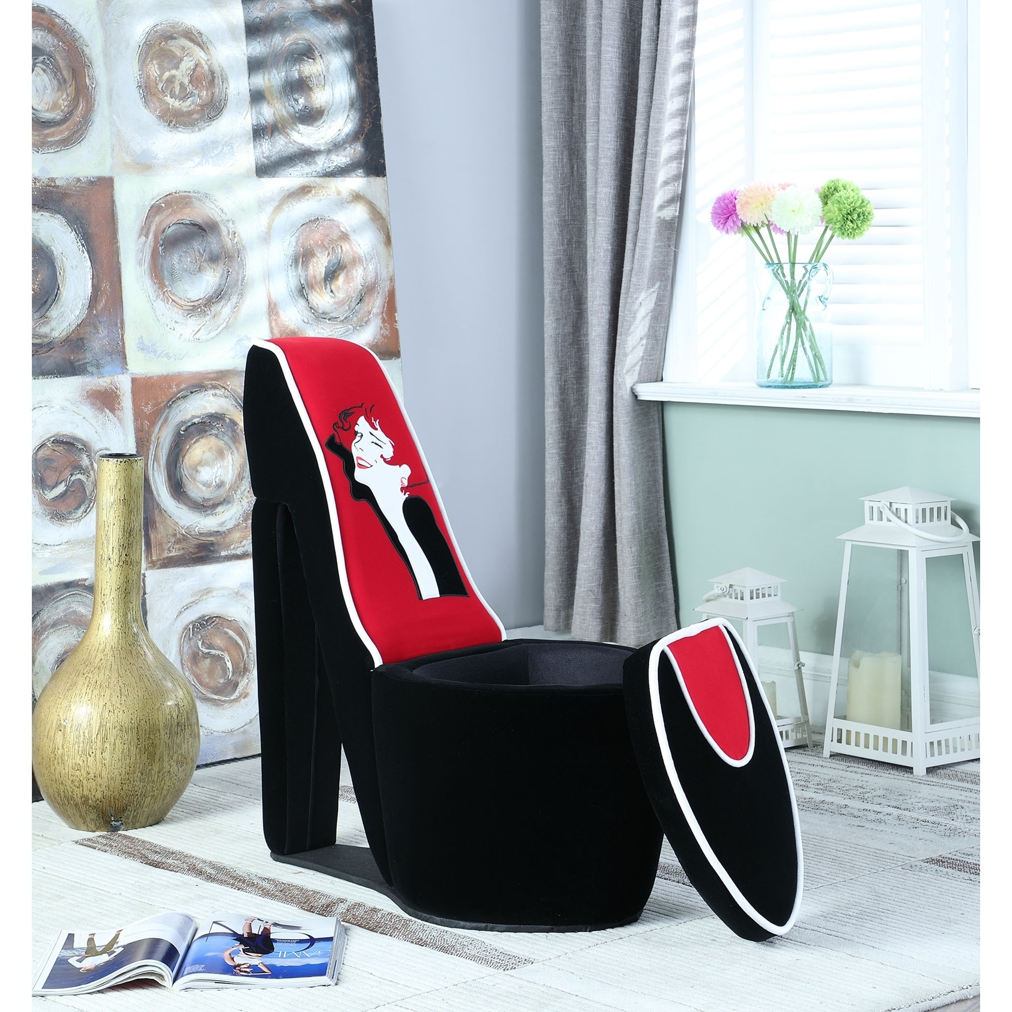 32 86 inch Glamour Girl Modern Living Room High Heel Storage Chair