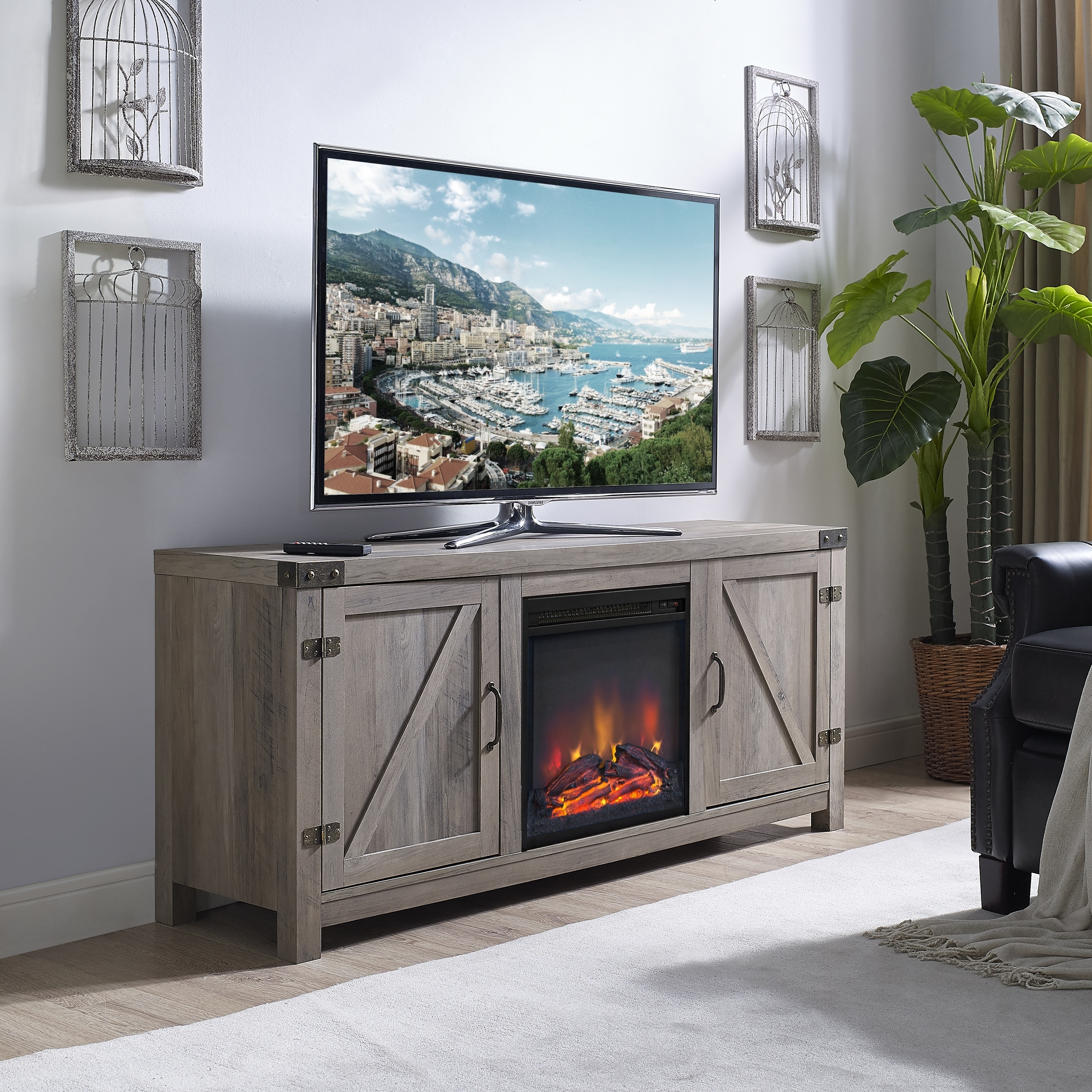 Grey Wash 58-inch Barn Door TV Stand with Fireplace - Free Shipping Today -  Overstock.com - 24209527
