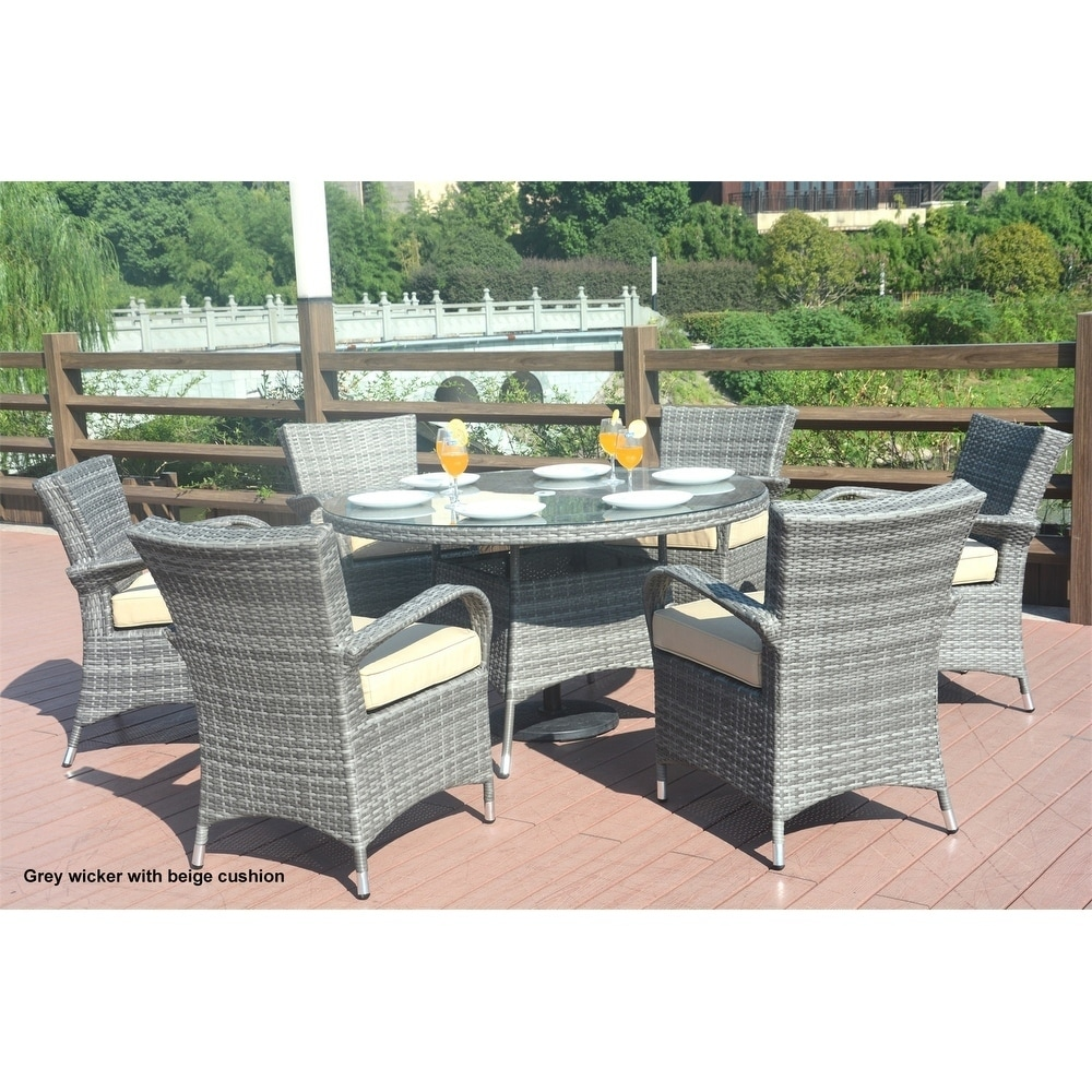 Turin Round Outdoor 7 Piece Patio Wicker Dining Set With Eton Chairs By  Direct Wicker   Free Shipping Today   Overstock   24210347