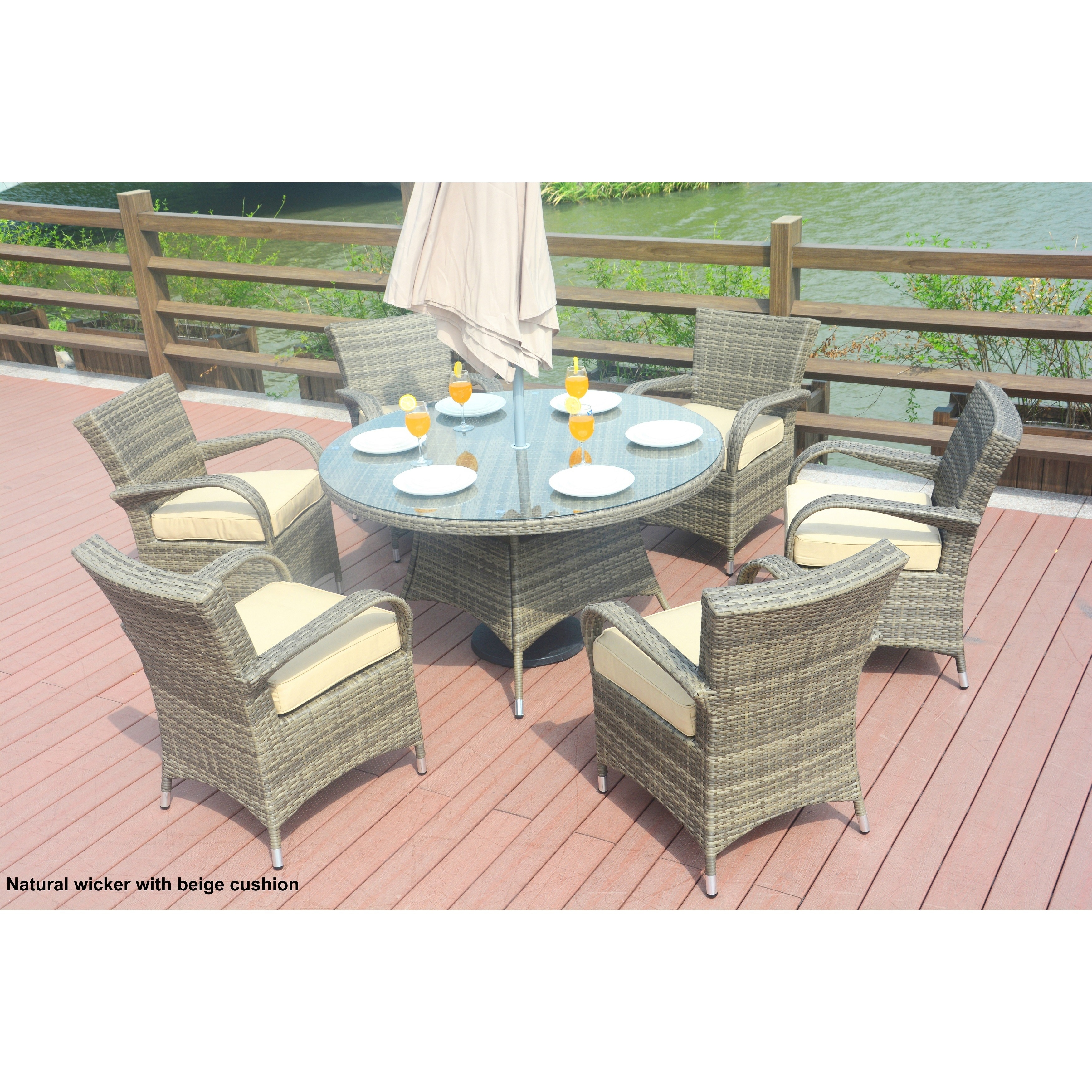 round outdoor dining sets. Turin Round Outdoor 7 Piece Patio Wicker Dining Set With Eton Chairs By Direct - Free Shipping Today Overstock 24210347 Sets O