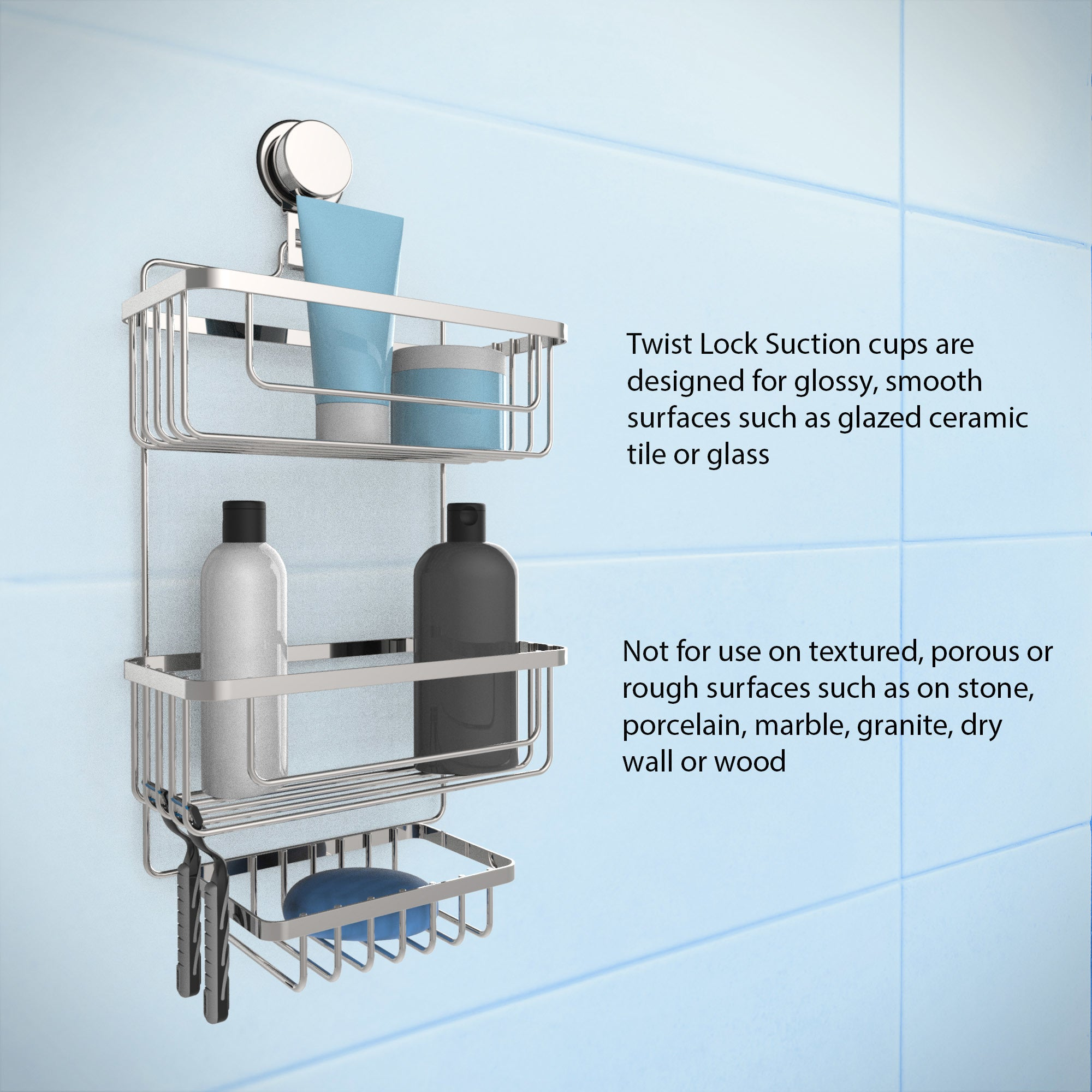Shop Wall Mounted 3 Tier Shower Caddy- Hanging Shower Storage Rack ...
