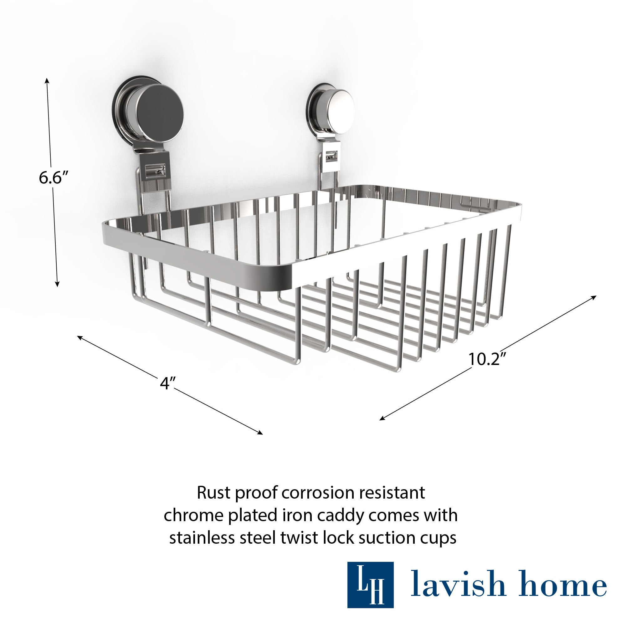 Wall Mounted Shower Caddy- Stainless Steel Twist Lock Suction Cups ...