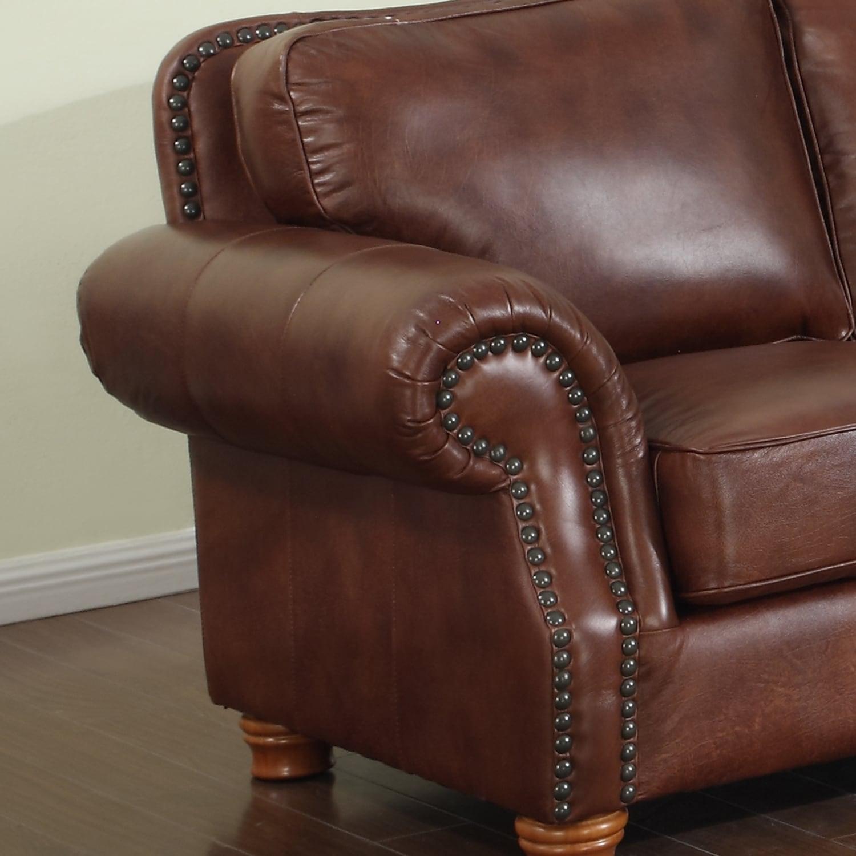 Brandon Distressed Whiskey Premium Top Grain Italian Leather Sofa   Free  Shipping Today   Overstock   24210726