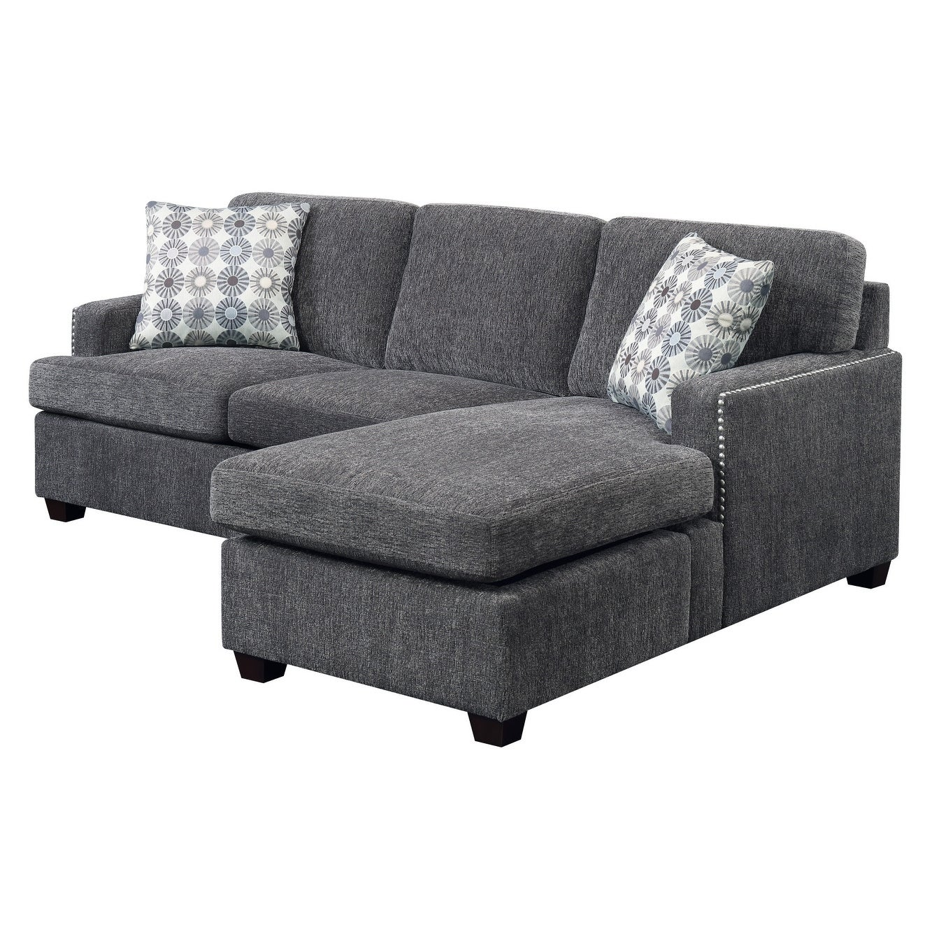 Shop emerald home siesta gray ink full sleeper chofa with pillows reversible chaise and 4 gel mattress free shipping today overstock com 18045843
