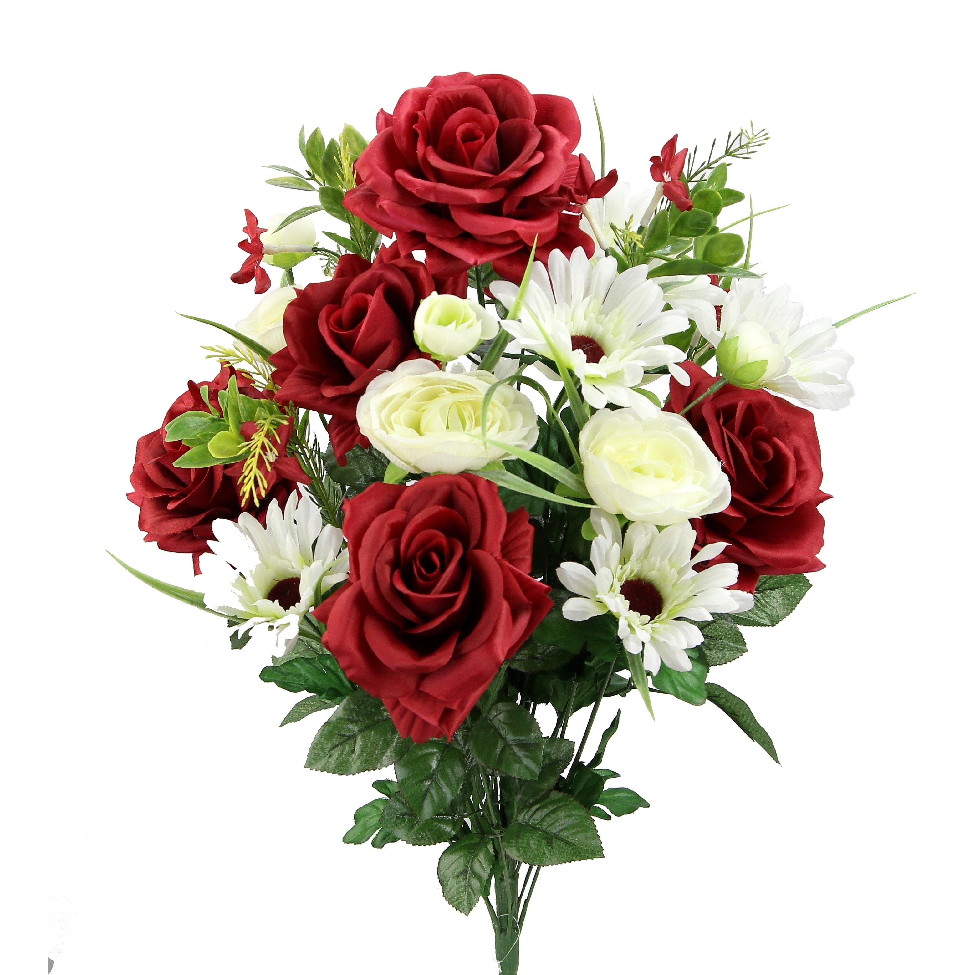 Shop Artificial Rose G Daisy Ranunculus Mixed Flower Bush Free