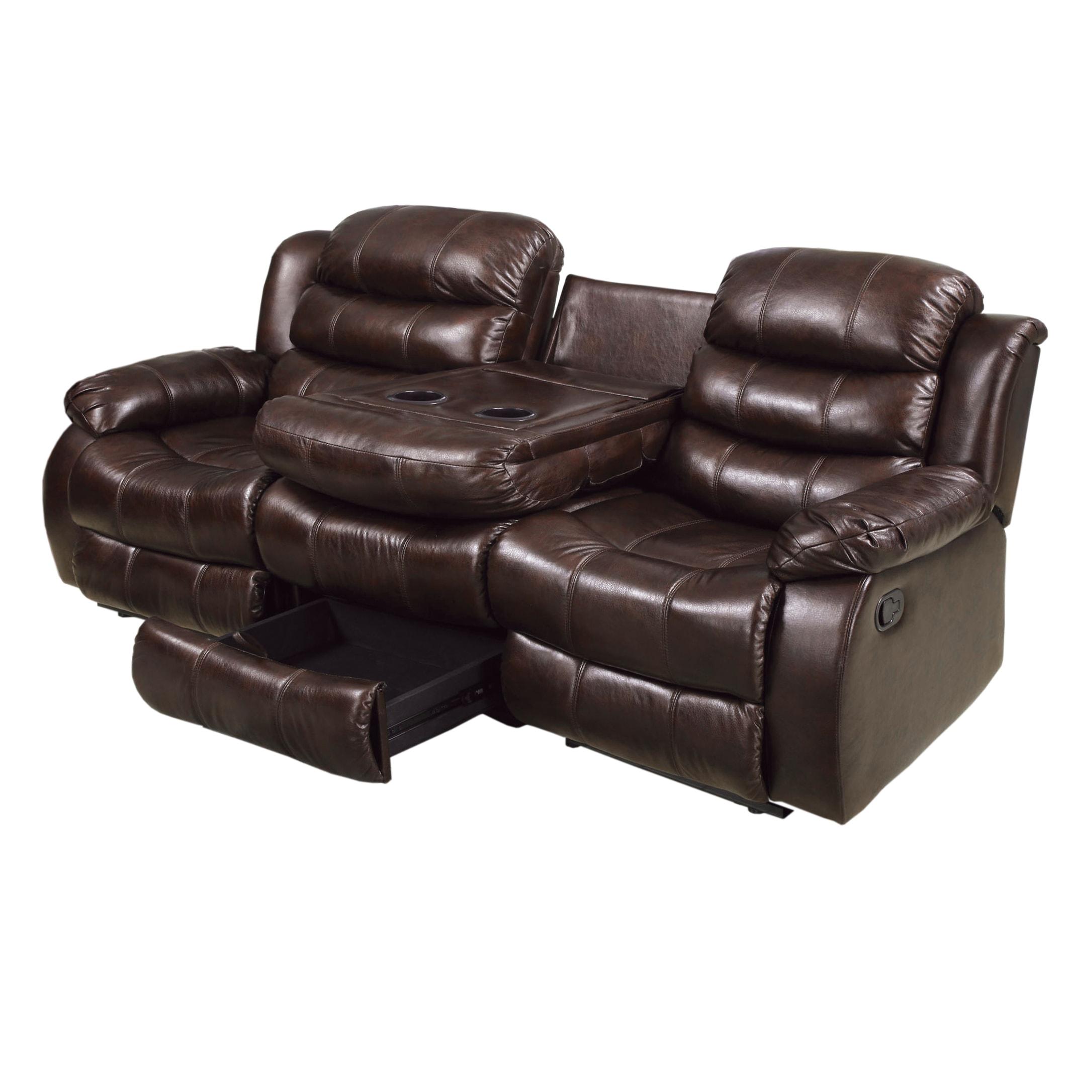 Shop Berkshield Transitional Rustic Brown Reclining Sofa by FOA - On ...