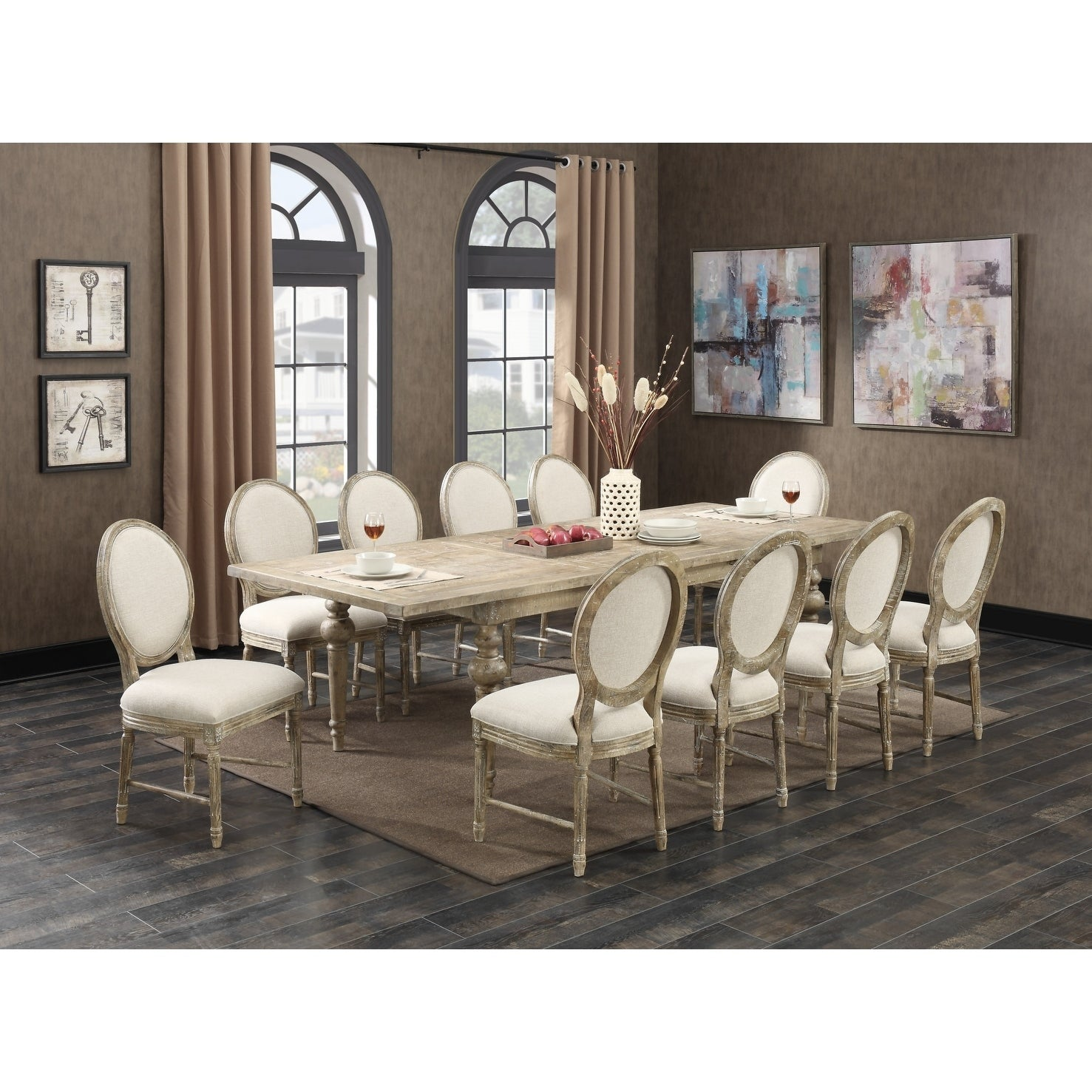 Interlude Weathered Pine Complete Dining Table with 28-Inch ...