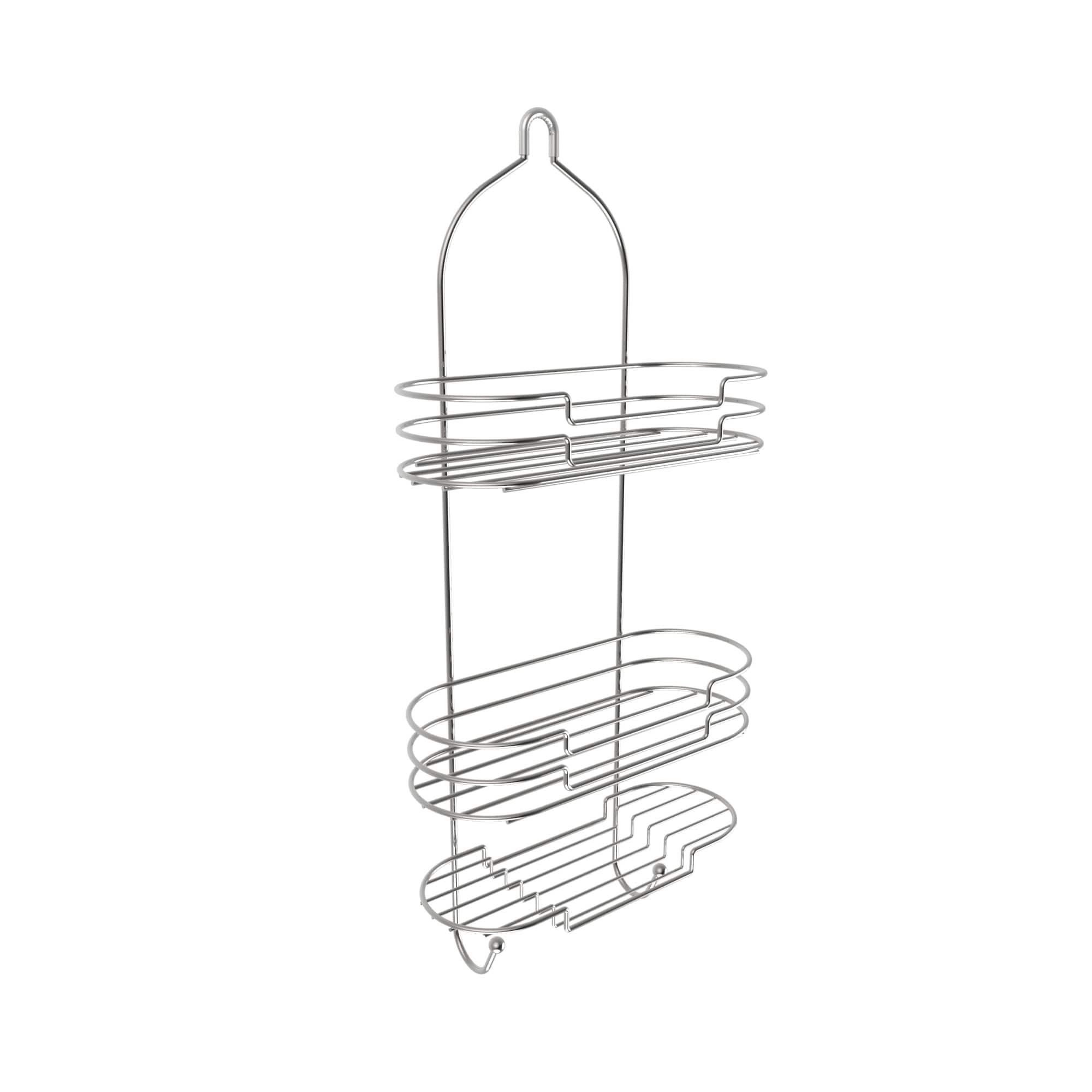 Shop Tall Shower Caddy with Shelves and Hooks- Showerhead Bath ...
