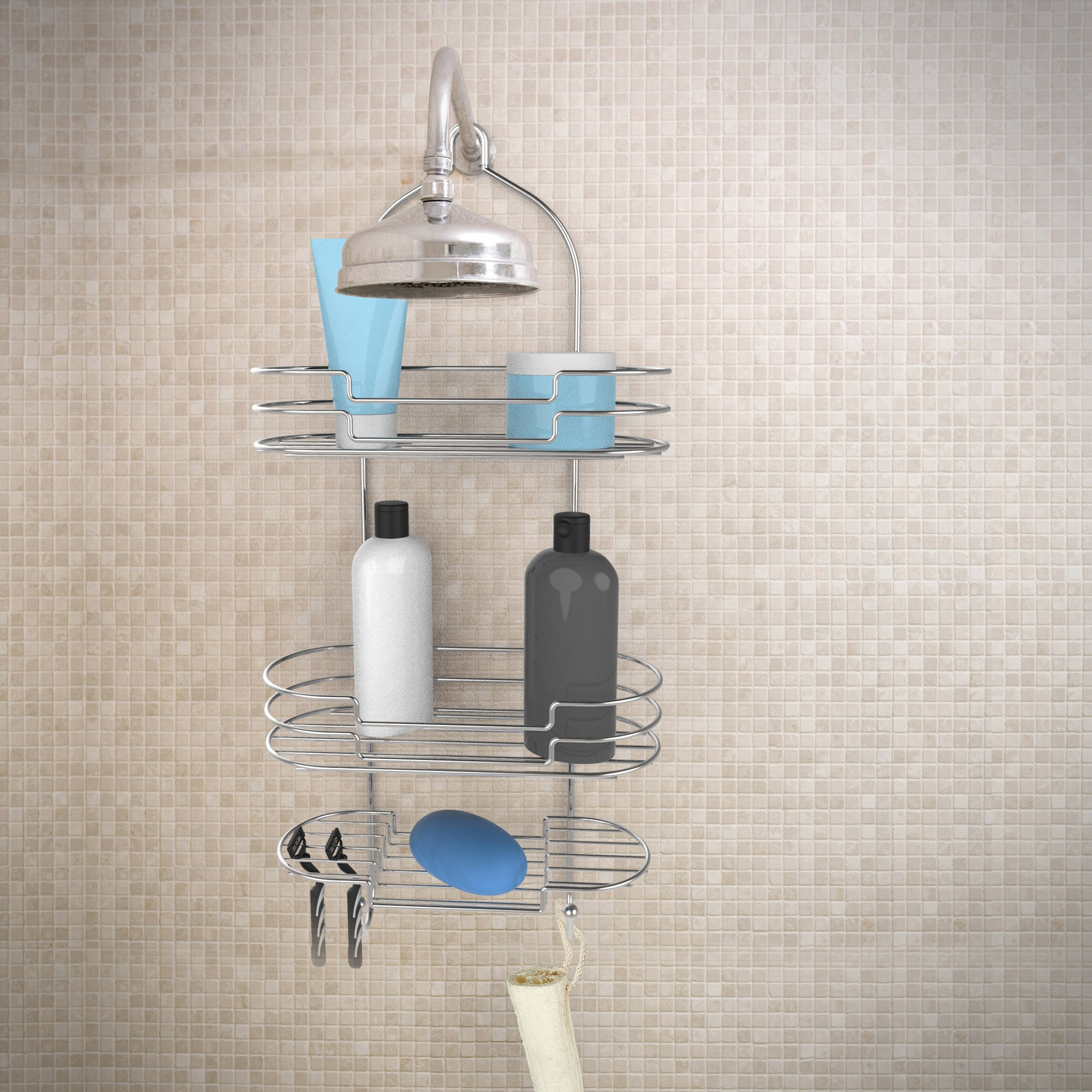 Shop Tall Shower Caddy with Shelves and Hooks- Showerhead Bath ...