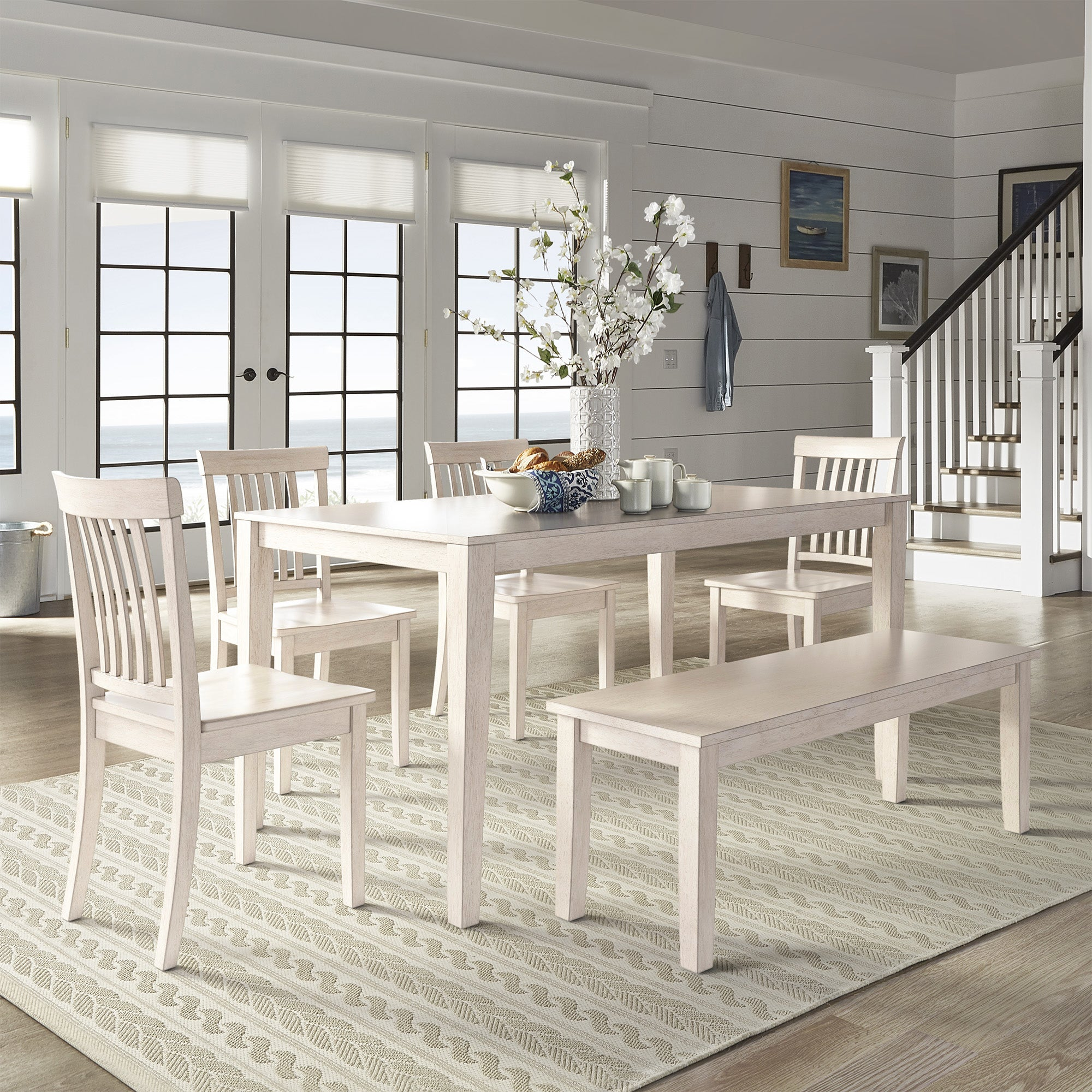 Shop Wilmington Ii 60 Inch Rectangular Antique White Dining Set By