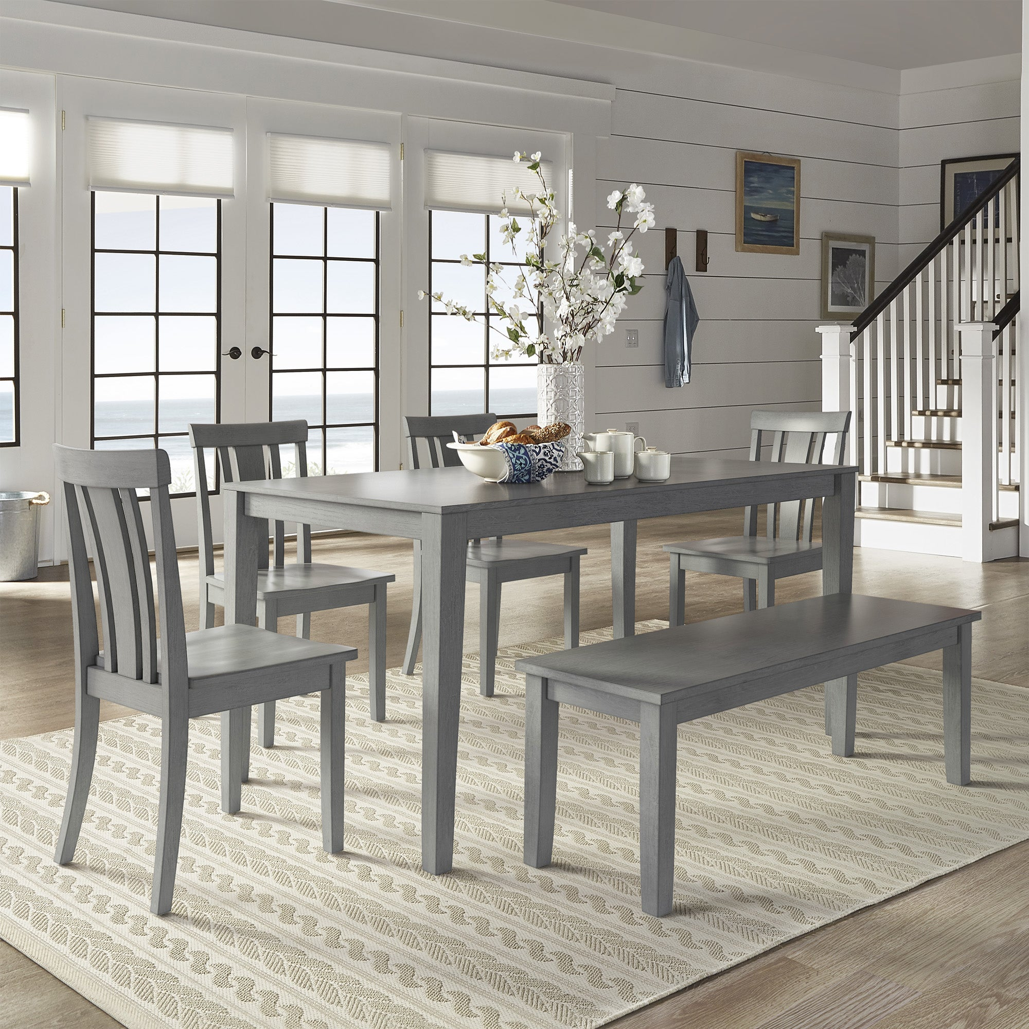 Wilmington II 60-Inch Rectangular Antique Grey Dining Set by iNSPIRE Q  Classic - Free