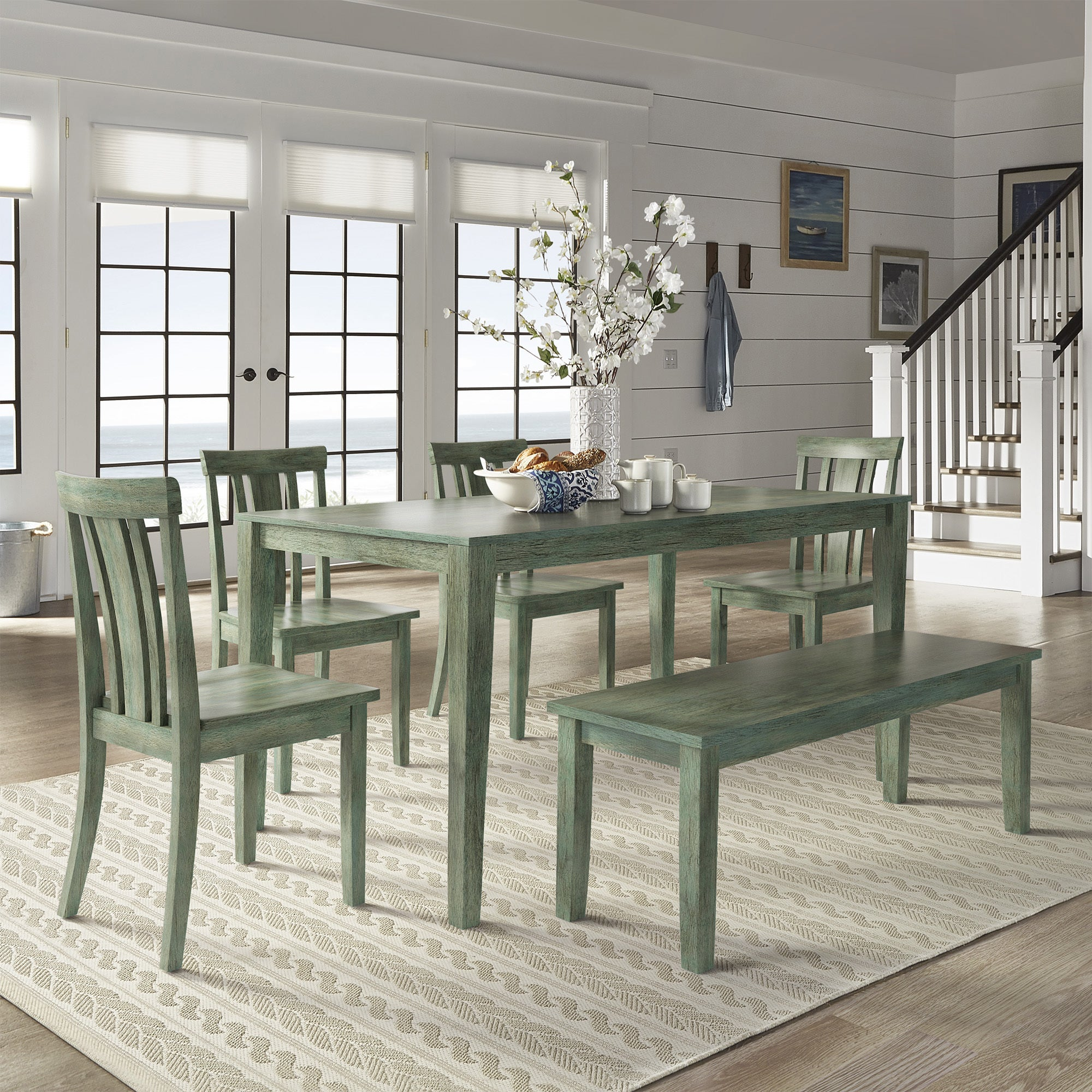 Attractive Wilmington II 60 Inch Rectangular Antique Sage Green Dining Set By INSPIRE  Q Classic   Free Shipping Today   Overstock   24213610