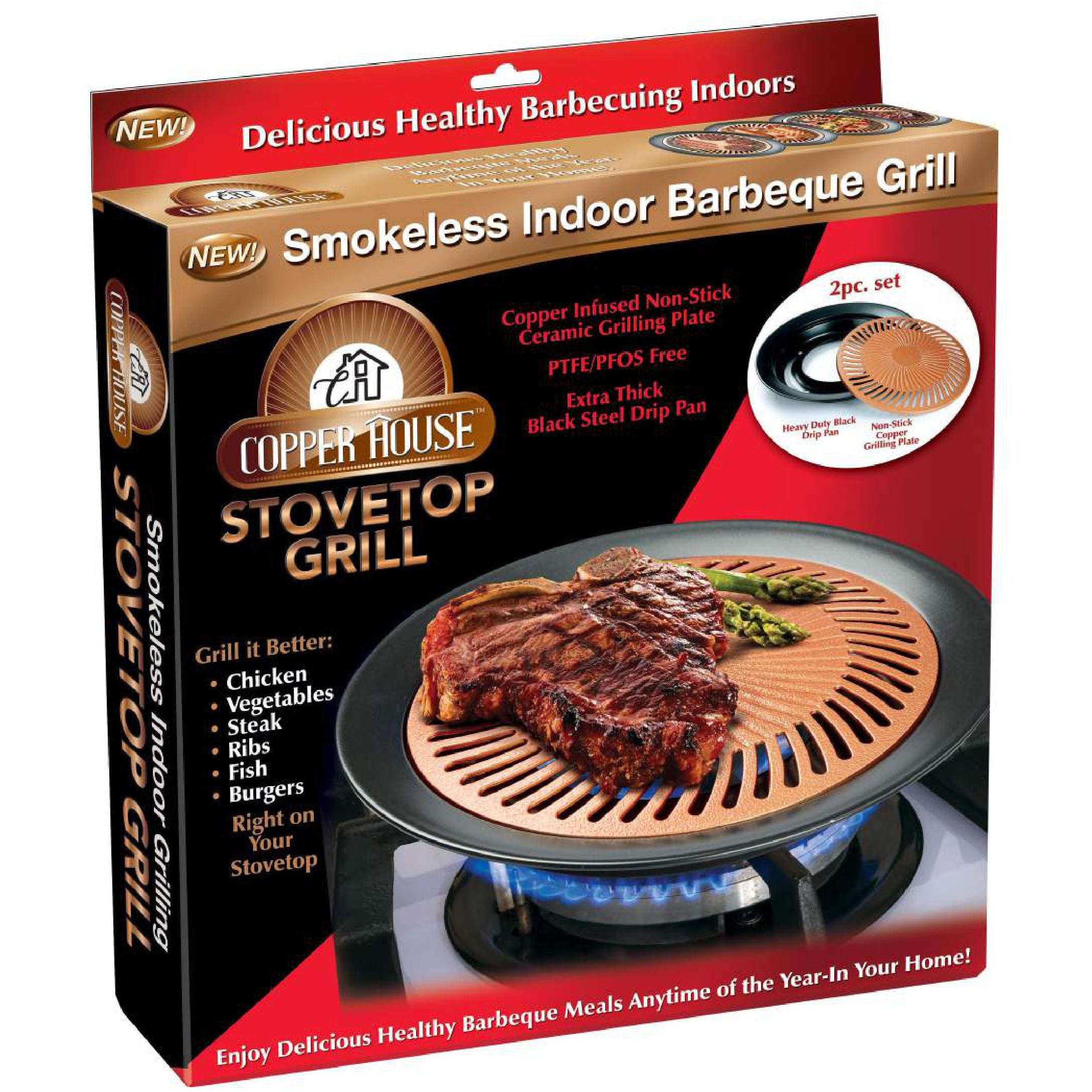 Copper House Stovetop Grill Smokeless Indoor BBQ Grill - Free ...