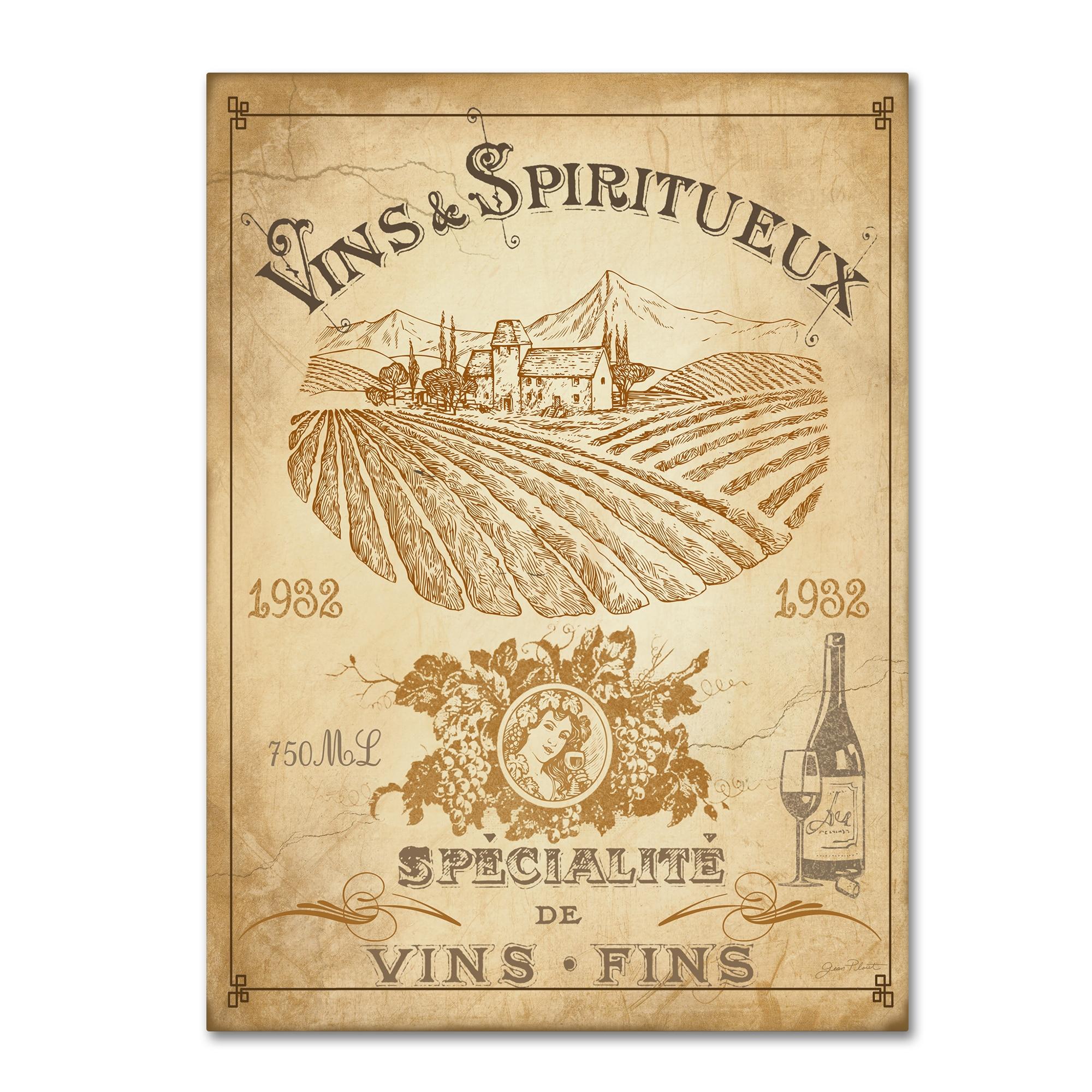 Shop Jean Plout \'Vintage French Wine Label\' Canvas Art - On Sale ...