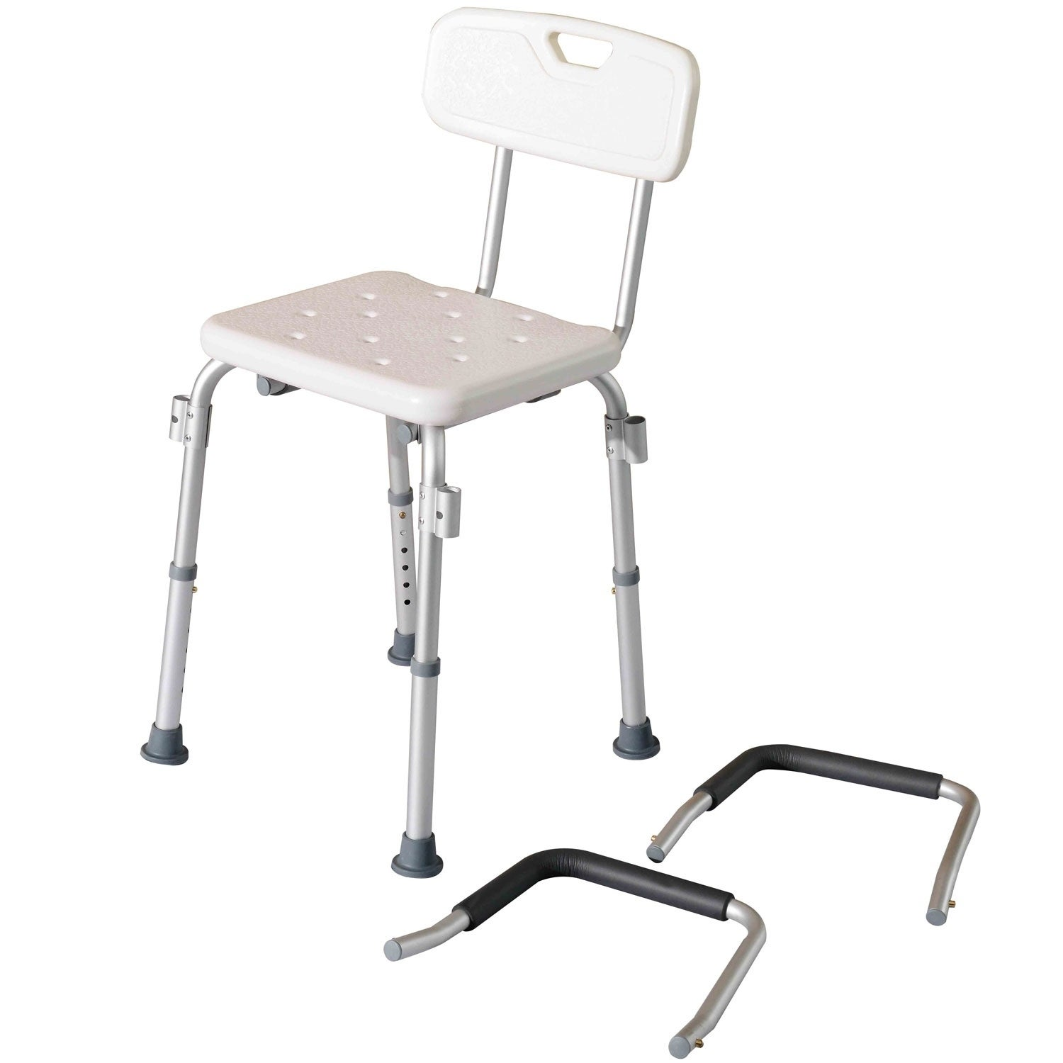 Shop HomCom Adjustable Medical Shower Chair with Arms and Backrest ...