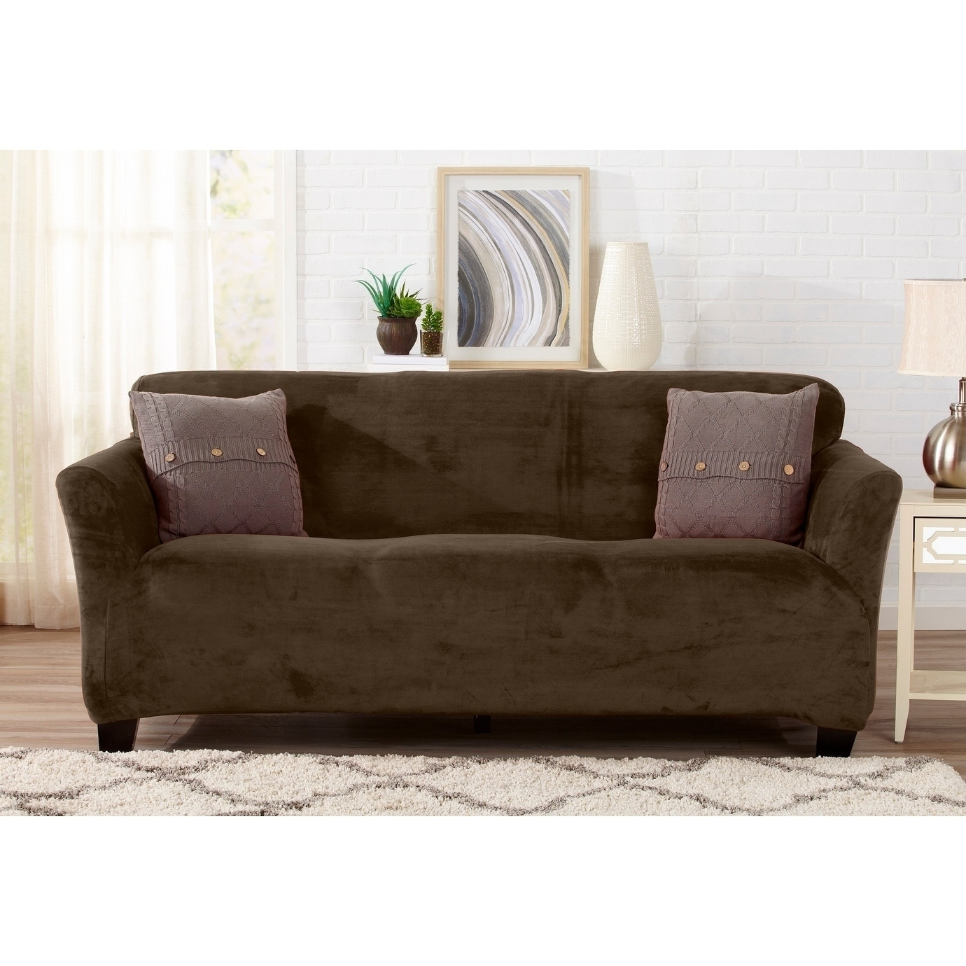Great Bay Home Velvet Plush Form Fit Sofa Slipcover On Free Shipping Today 18056603
