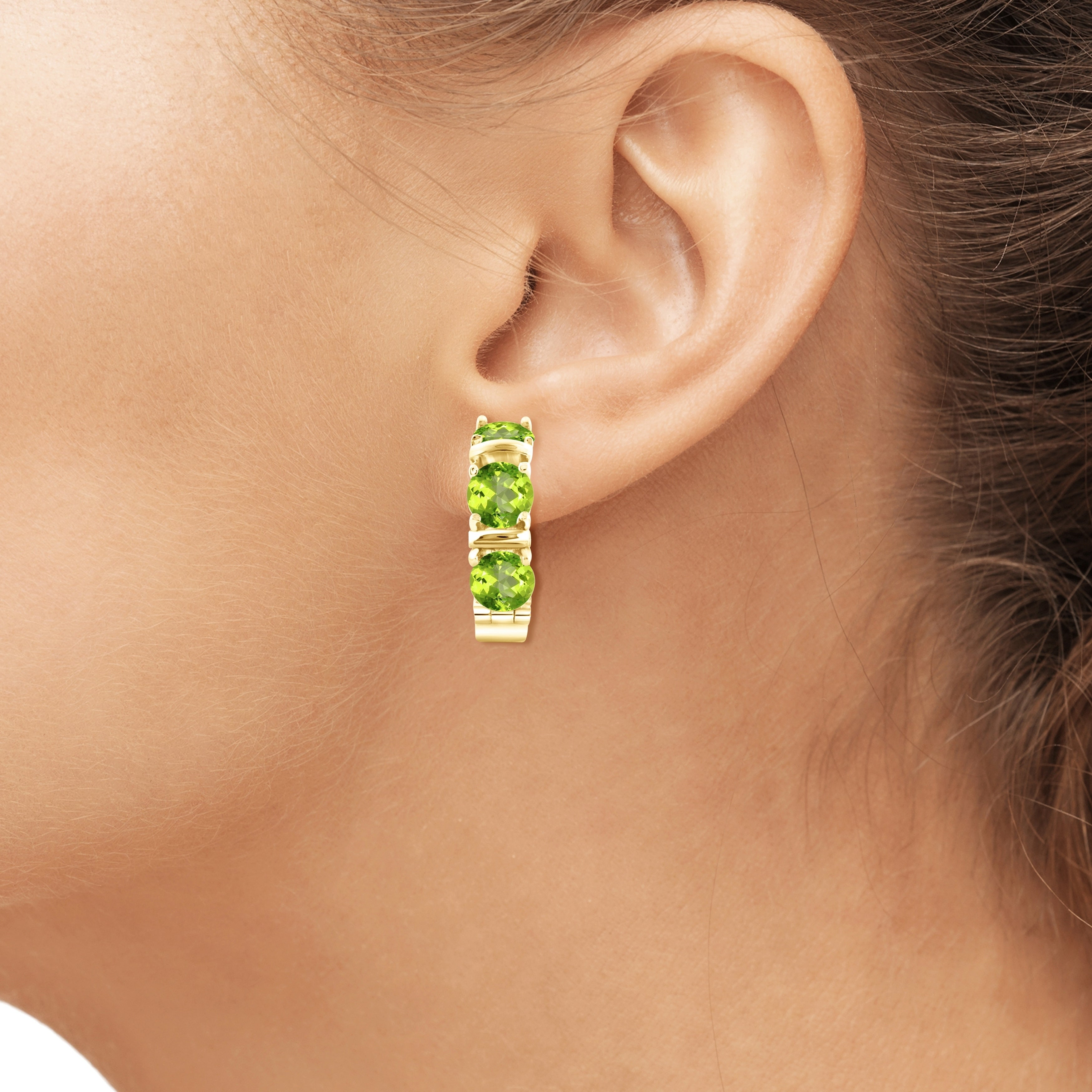 Jewelonfire 4 50 Carat Genuine Peridot Hoop Earring In Sterling Silver Free Shipping Today 18057468