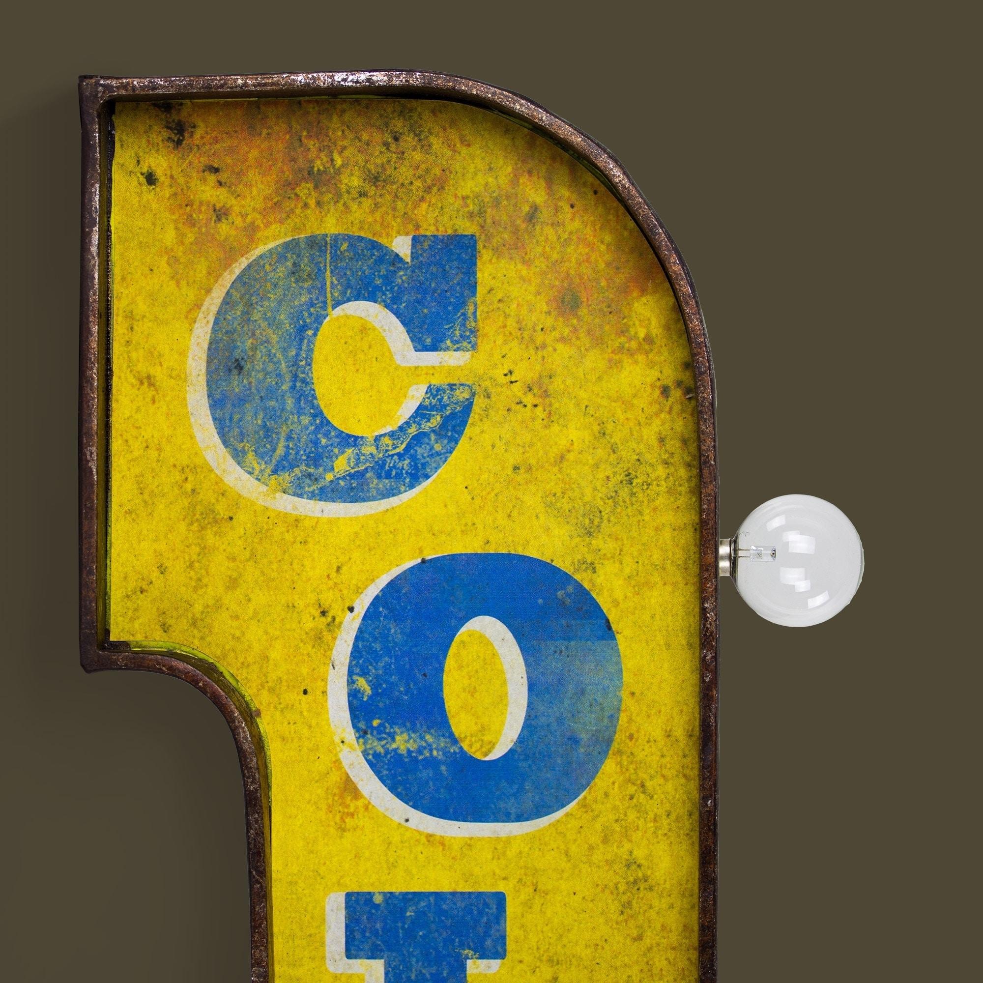 Shop Cold Beer Vintage Bar Decor Distressed Metal LED Sign Marquee ...