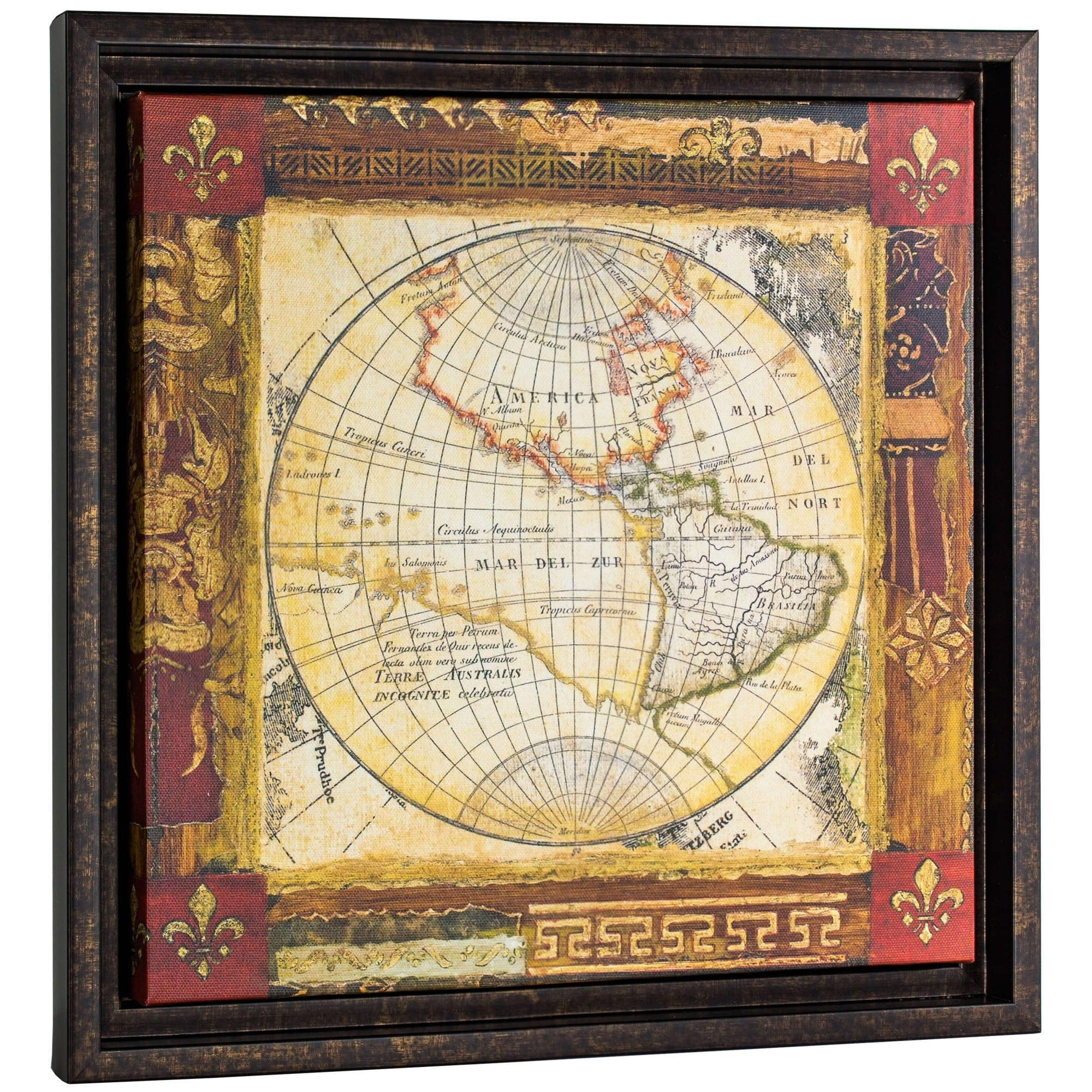 Shop Corners of the Earth Detail II Framed World Map Wrapped Canvas ...