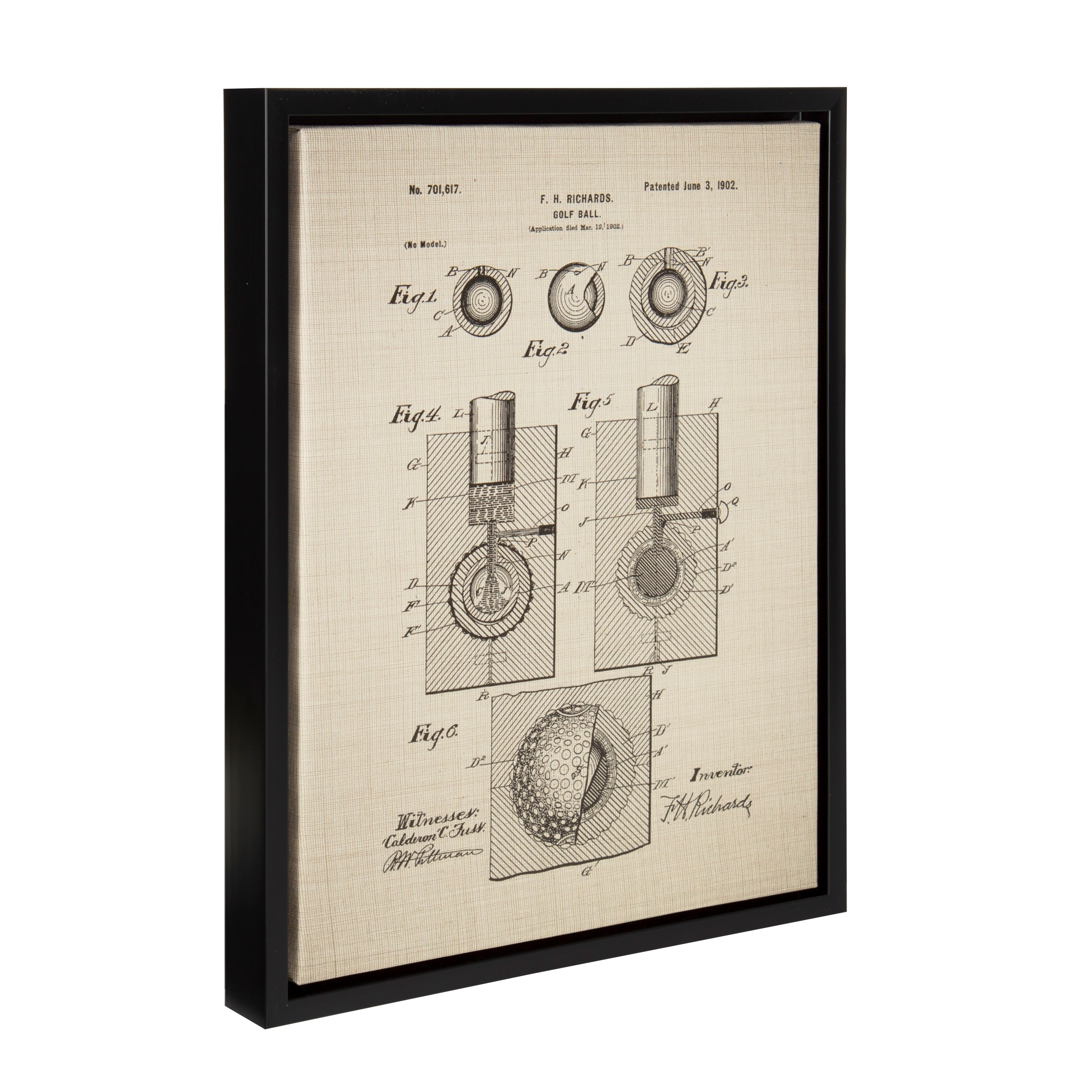 Sylvie Golf Ball Patent 14x18 Framed Canvas Wall Art - Free Shipping ...