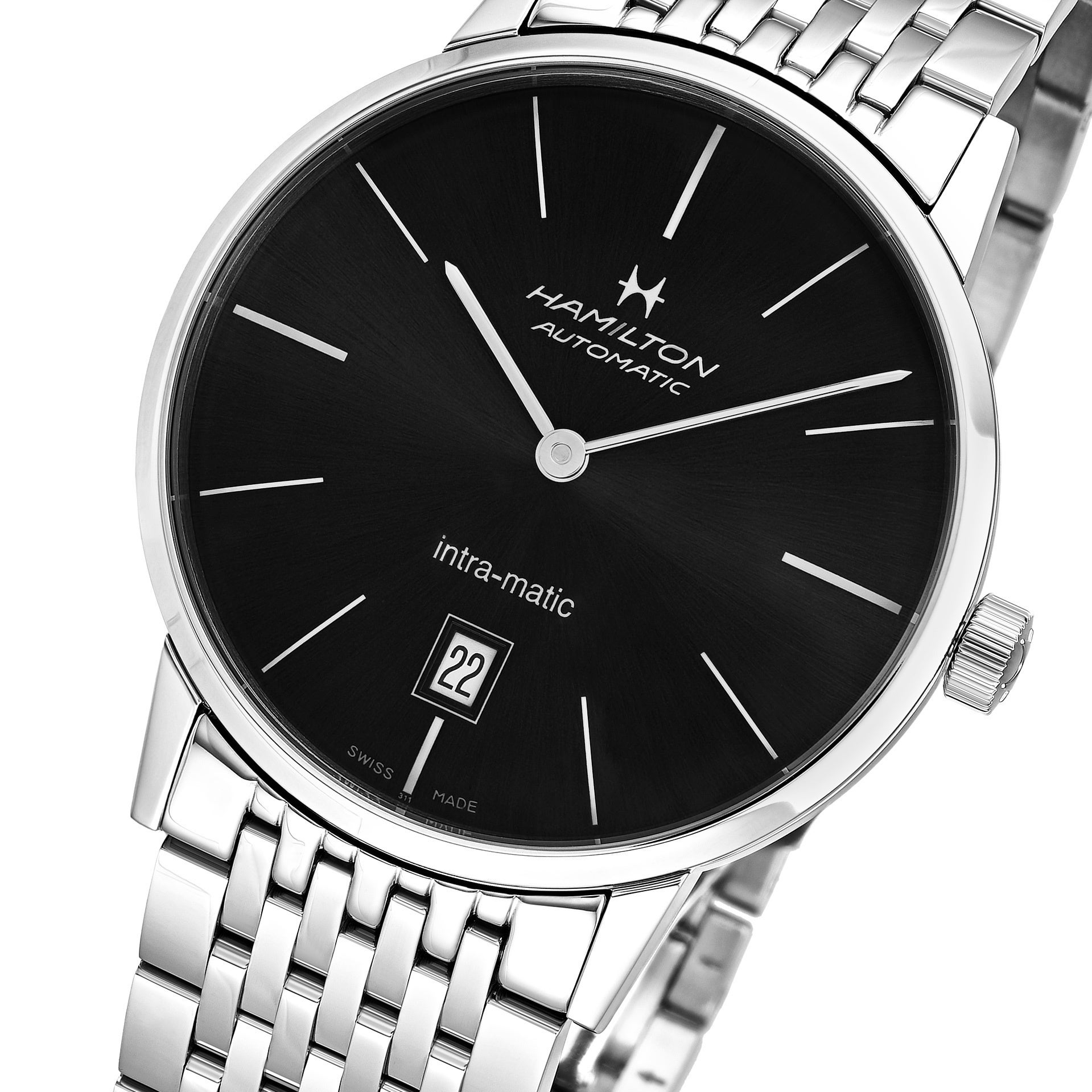 e3a82ec9aa5 Shop Hamilton Men s  Timeless Class  Black Dial Stainless Steel Swiss  Intra-matic Watch - Free Shipping Today - Overstock - 18058307