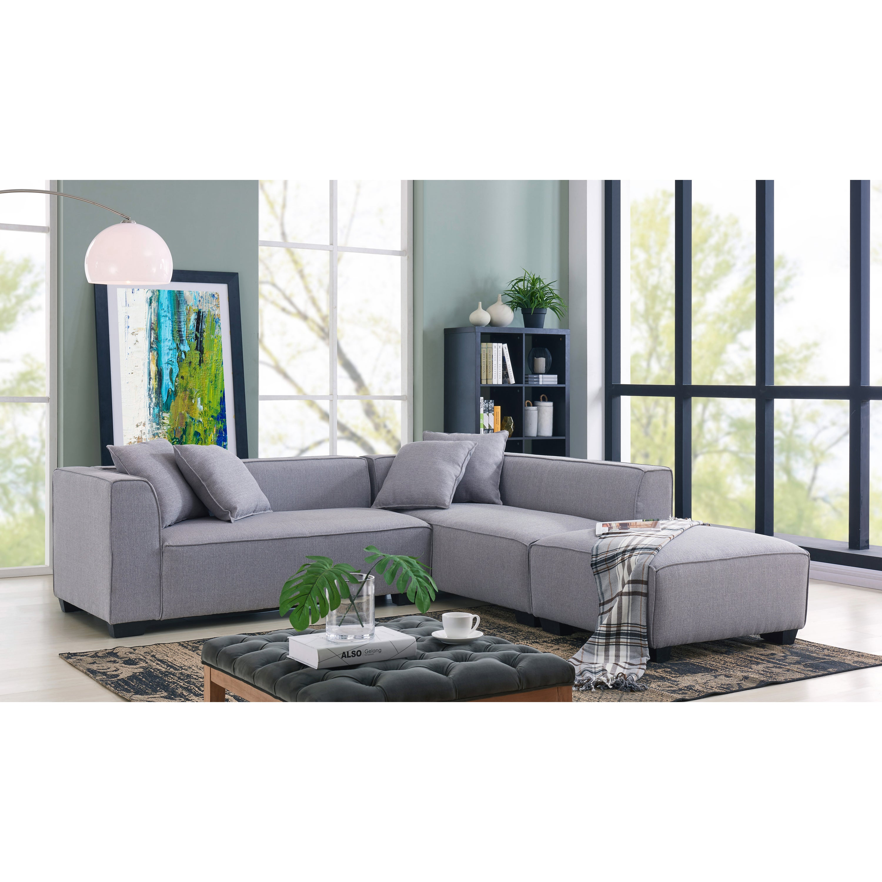 Shop handy living phoenix grey sectional sofa with ottoman on sale free shipping today overstock com 18058314